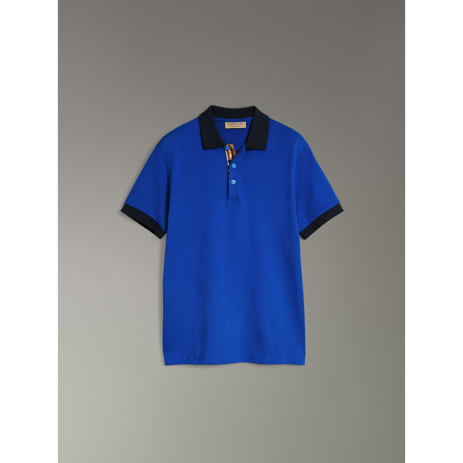 Contrast Collar Cotton Polo Shirt in Cerulean Blue - Men | Burberry United States - gallery image 3