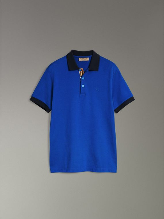 Contrast Collar Cotton Polo Shirt in Cerulean Blue - Men | Burberry United States - cell image 3
