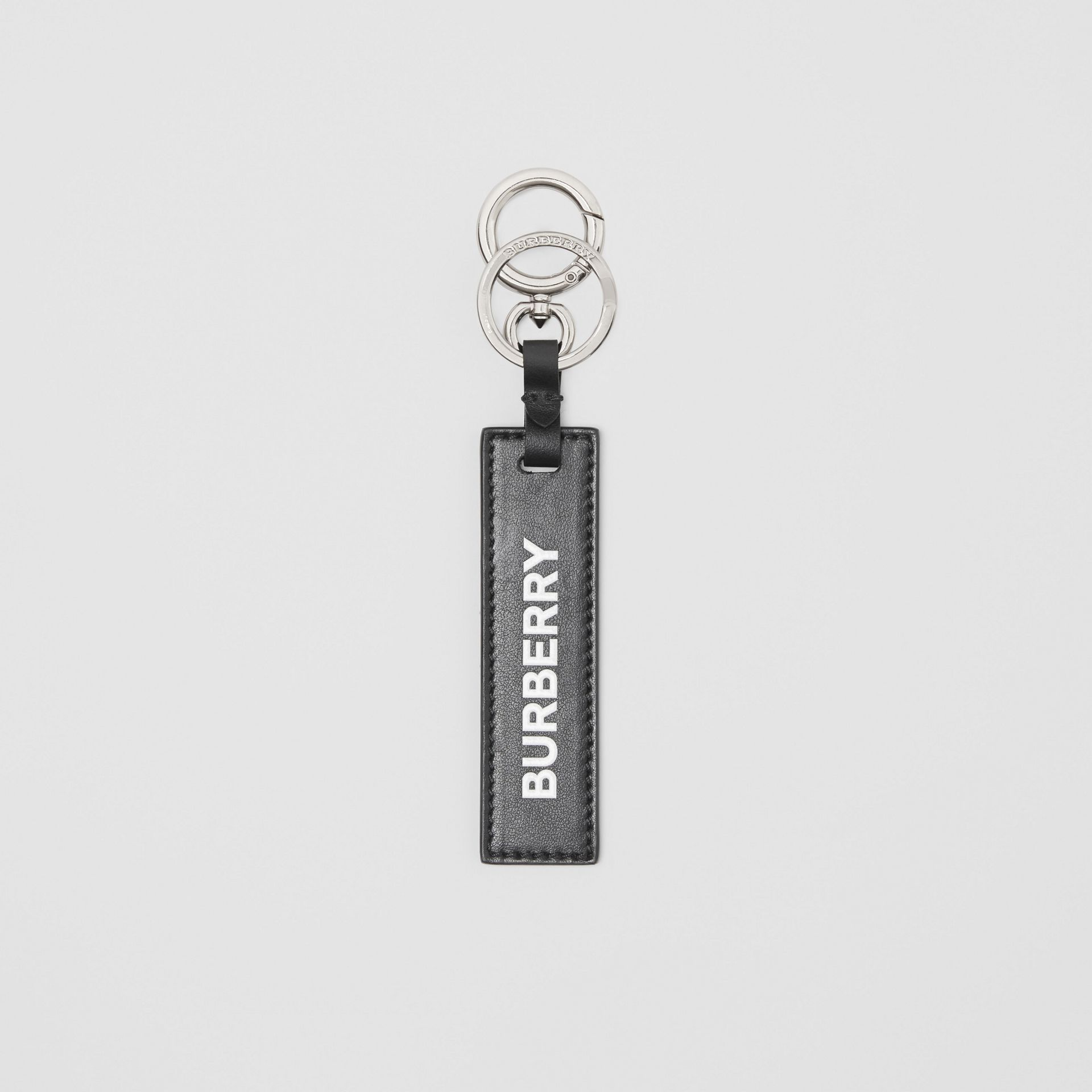 Kingdom Print Leather Key Ring in Black - Men | Burberry - gallery image 0