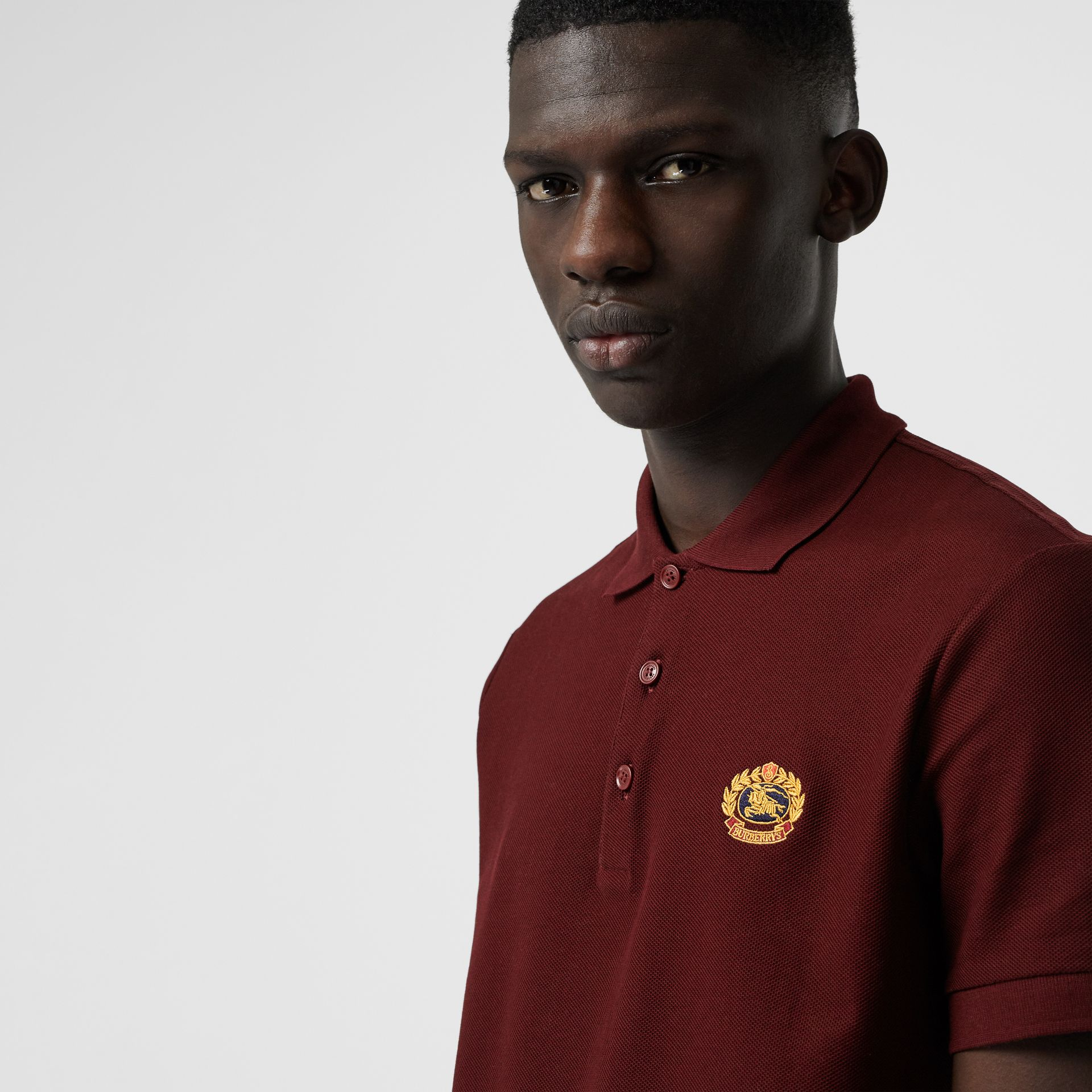 Archive Logo Cotton Piqué Polo Shirt in Burgundy - Men | Burberry Australia - gallery image 1