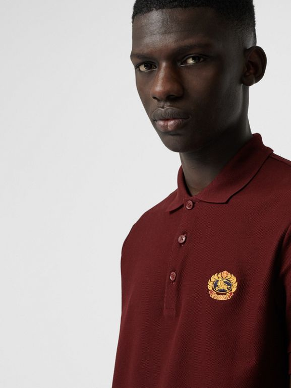Archive Logo Cotton Piqué Polo Shirt in Burgundy - Men | Burberry Australia - cell image 1