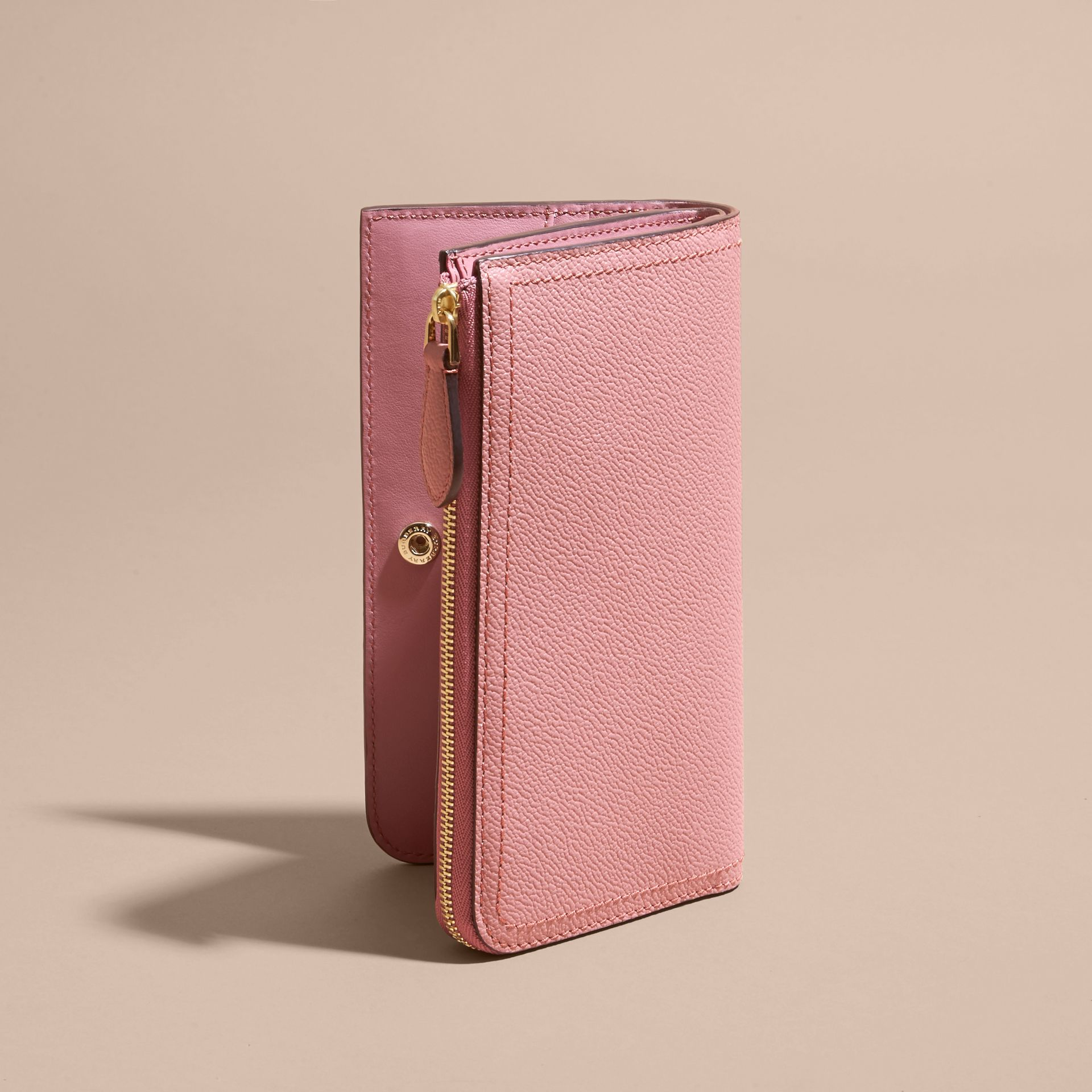 Grainy Leather Ziparound Wallet Dusty Pink - gallery image 5
