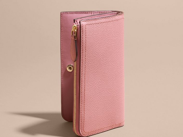 Grainy Leather Ziparound Wallet Dusty Pink - cell image 4