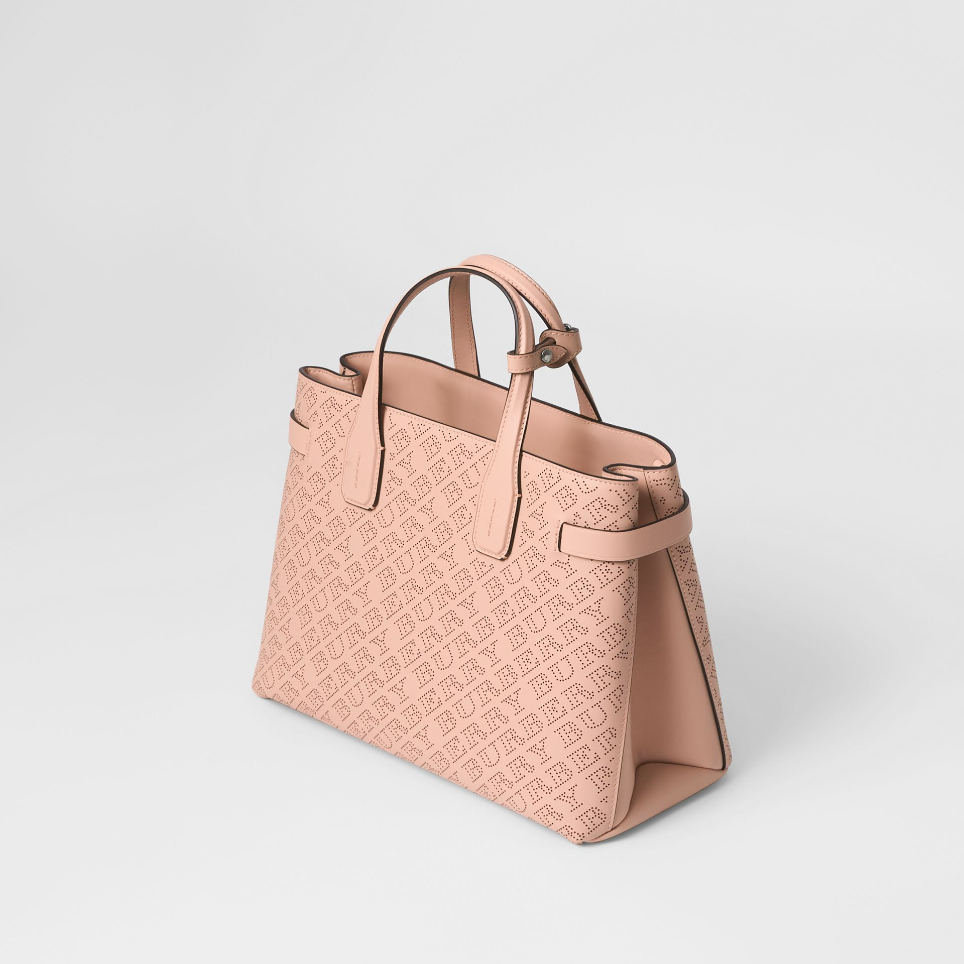 The Medium Banner in Perforated Logo Leather in Pale Fawn Pink - Women   Burberry - gallery image 4