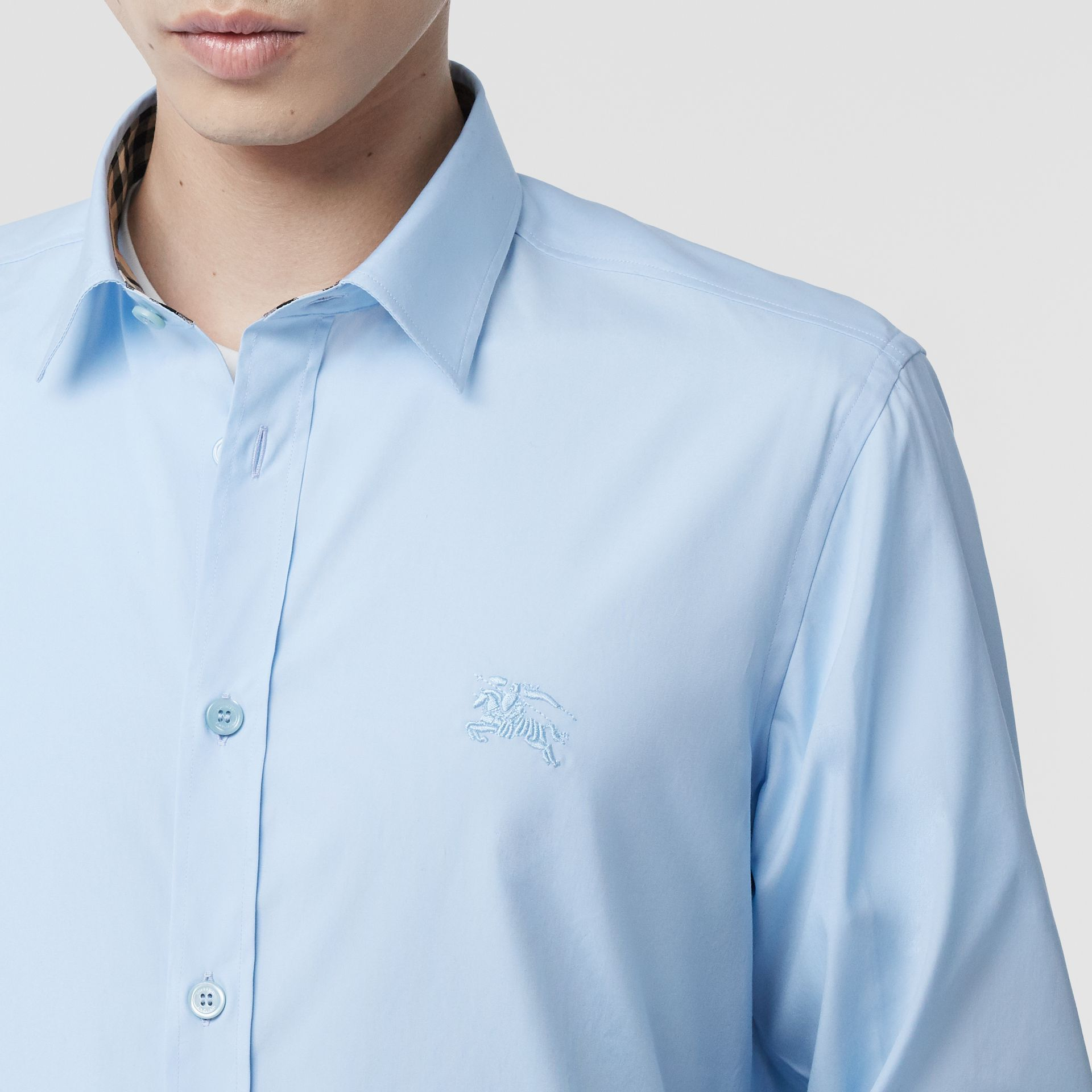 Classic Fit Embroidered EKD Cotton Oxford Shirt in Sky Blue - Men | Burberry - gallery image 1