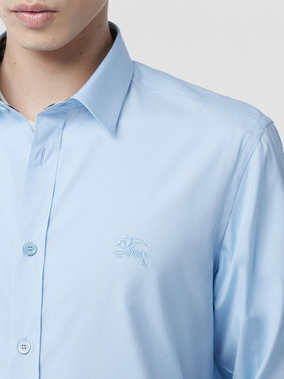 Classic Fit Embroidered EKD Cotton Oxford Shirt in Sky Blue - Men | Burberry - cell image 1