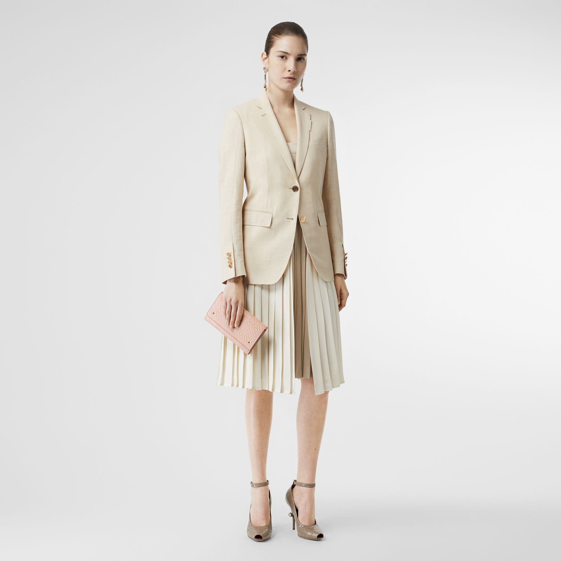 Portefeuille en cuir Monogram et sangle amovible (Beige Rose) - Femme | Burberry - photo de la galerie 3