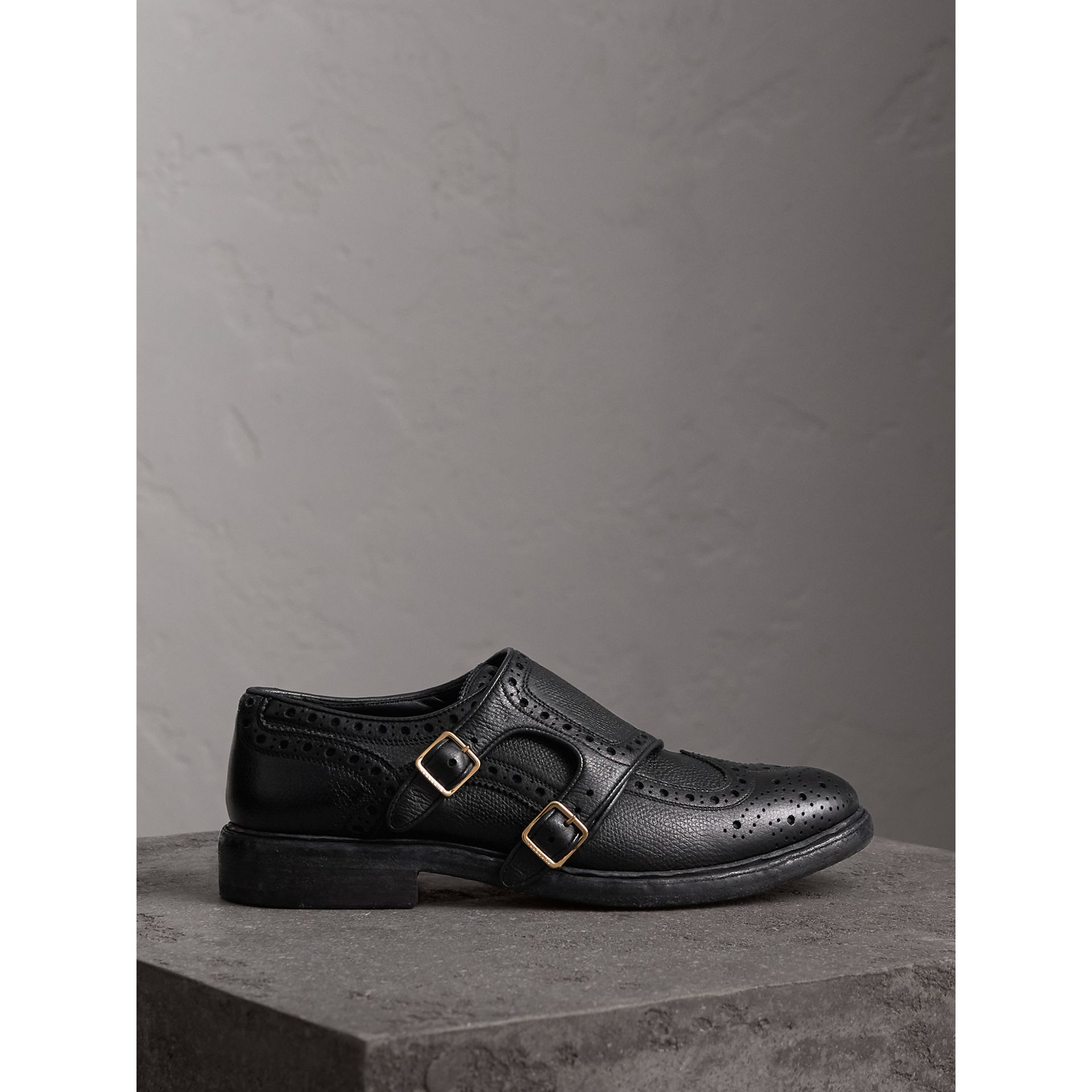 Brogue Detail Textured Leather Monk Shoes in Black - Women | Burberry United States - gallery image 4