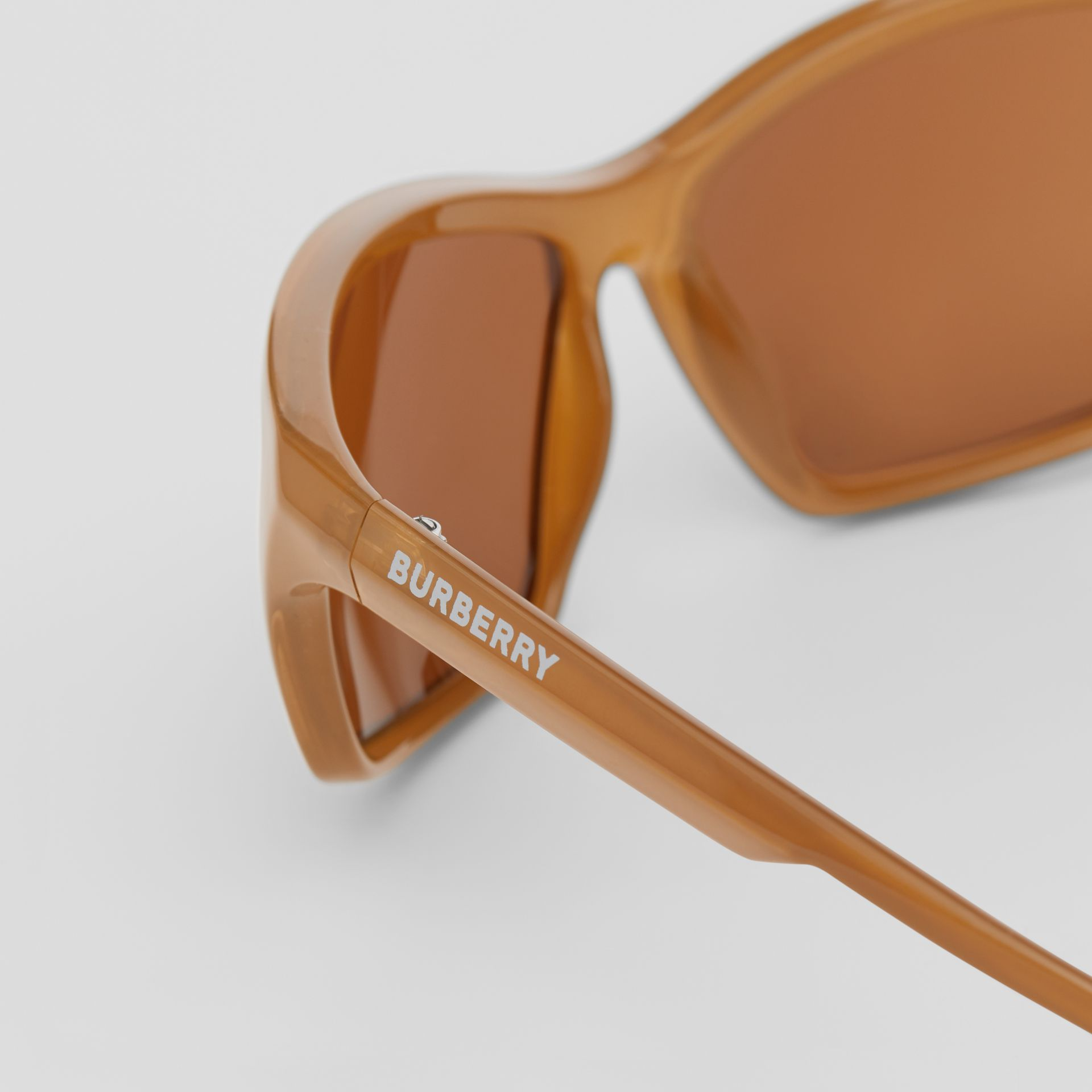 Wrap Frame Sunglasses in Amber Tortoiseshell - Men | Burberry - gallery image 1