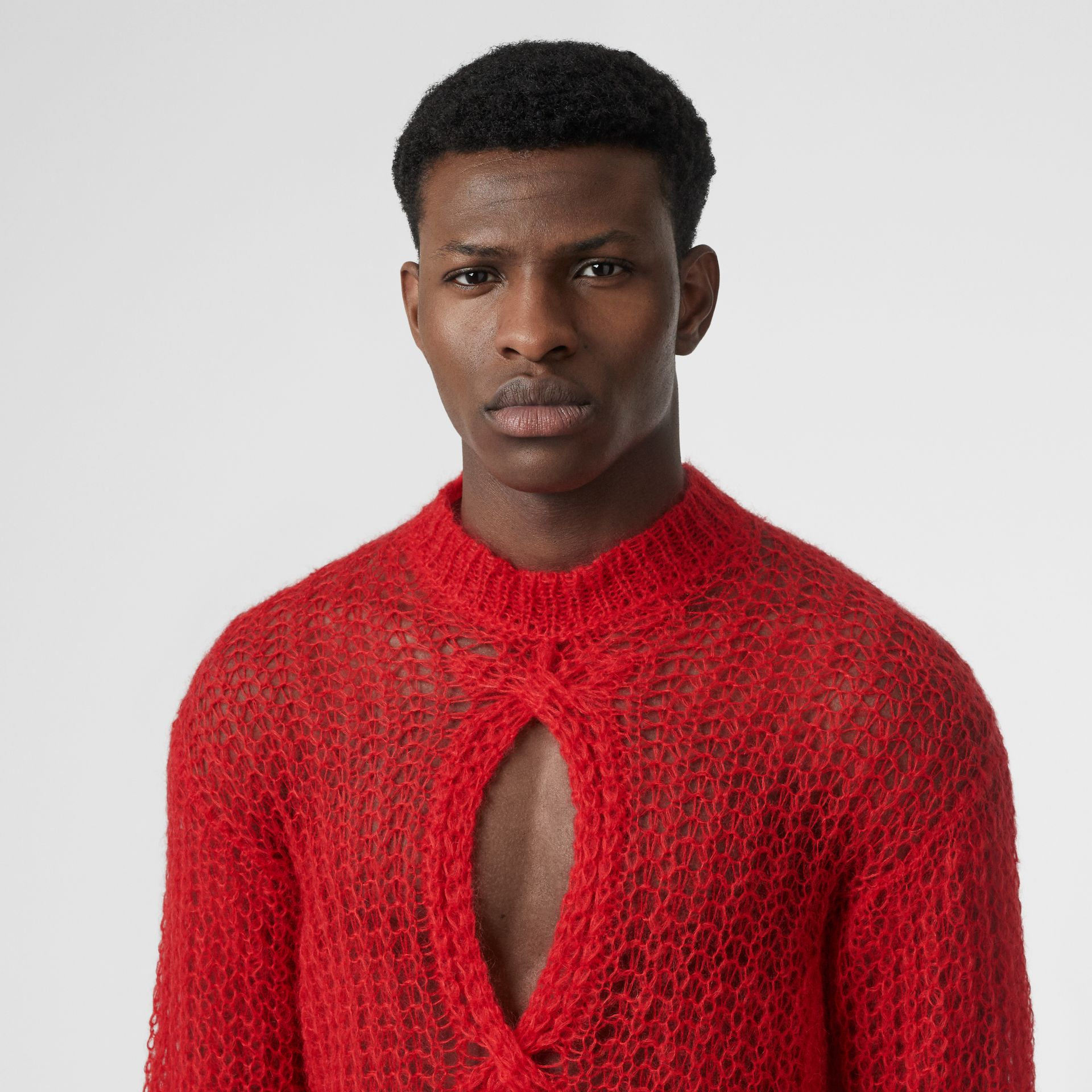 Open Knit Mohair Wool Blend Sweater in Bright Red | Burberry Singapore - gallery image 1