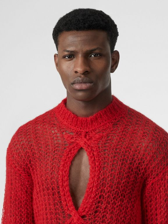 Open Knit Mohair Wool Blend Sweater in Bright Red | Burberry - cell image 1