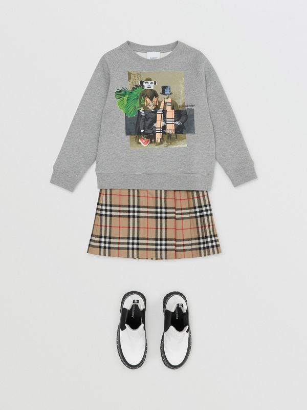 Collage Print Cotton Blend Sweatshirt in Grey Melange | Burberry Hong Kong S.A.R - cell image 2