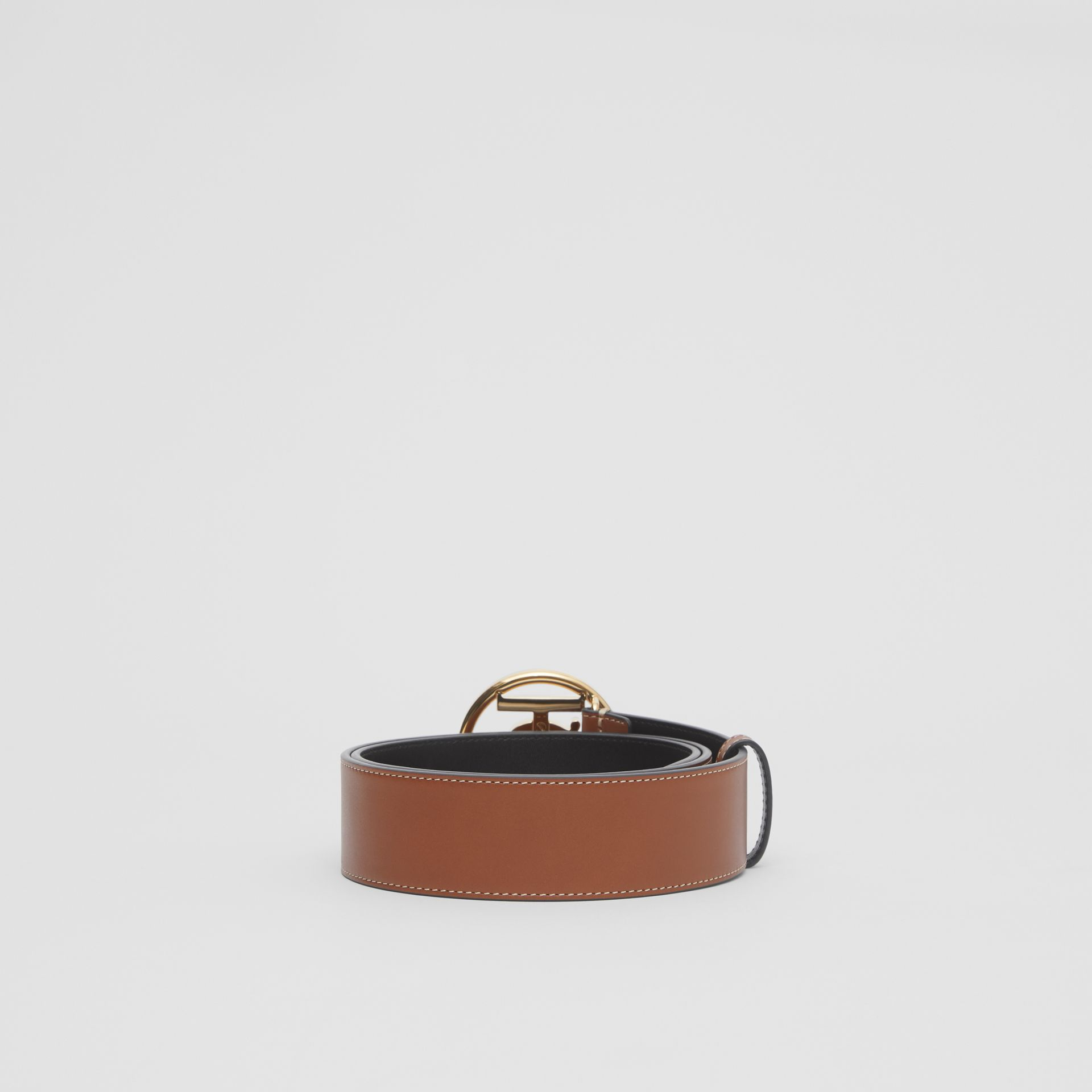 Monogram Motif Topstitched Leather Belt in Tan - Men | Burberry United Kingdom - gallery image 3