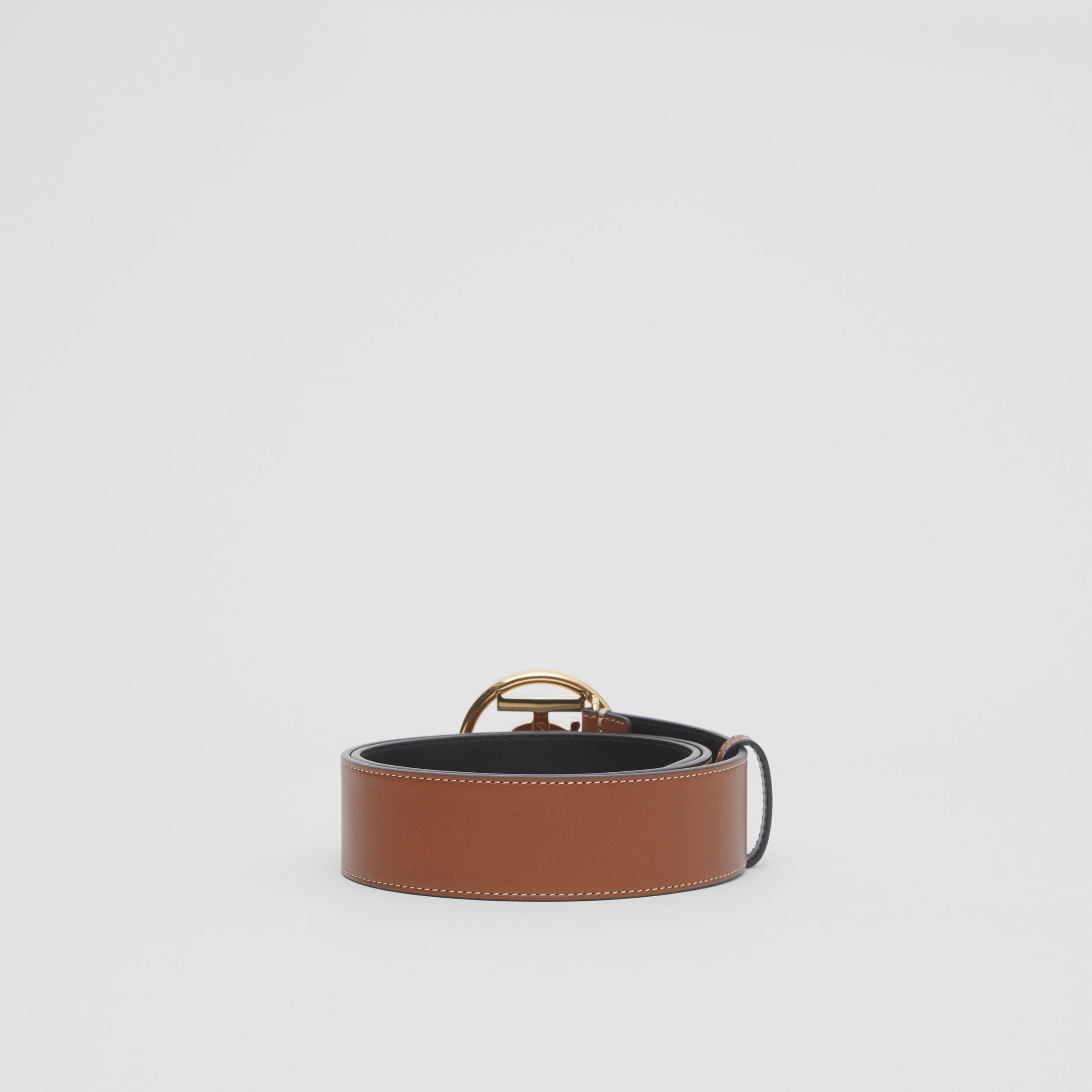 Monogram Motif Topstitched Leather Belt in Tan - Men | Burberry - 4