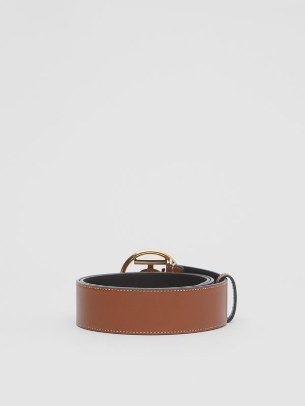 Monogram Motif Topstitched Leather Belt in Tan - Men | Burberry United Kingdom - cell image 3