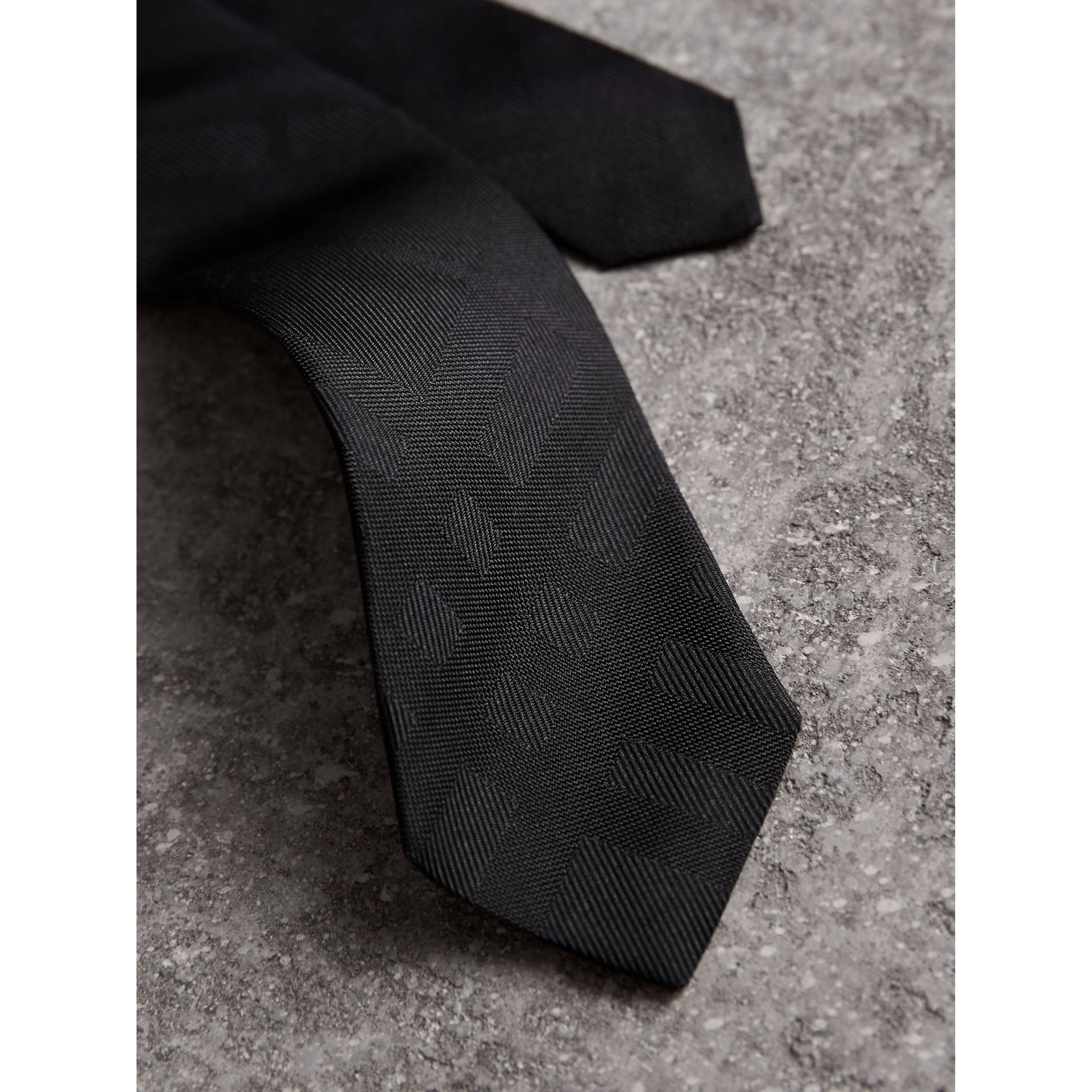 Slim Cut Check Silk Tie in Black - Men | Burberry Australia - gallery image 1