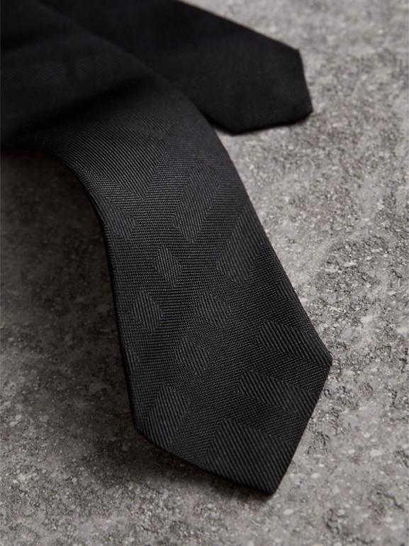 Slim Cut Check Silk Tie in Black - Men | Burberry United Kingdom - cell image 1