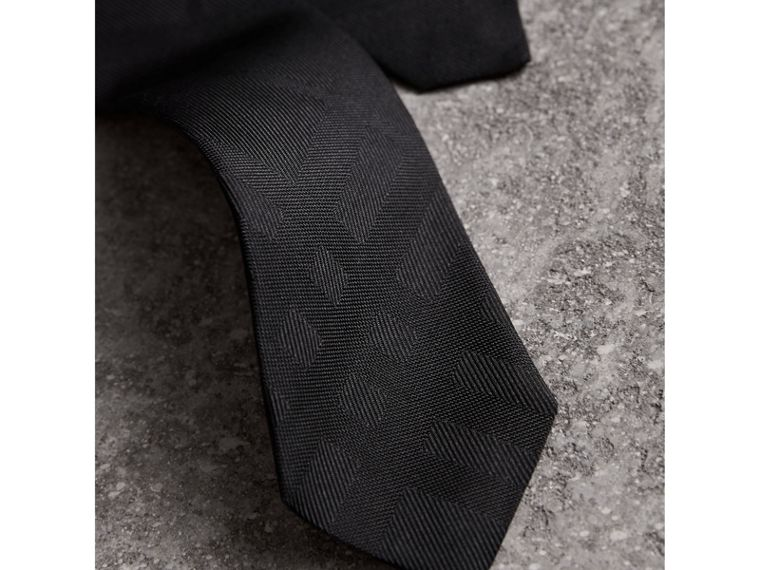 Slim Cut Check Silk Tie in Black - Men | Burberry United States - cell image 1