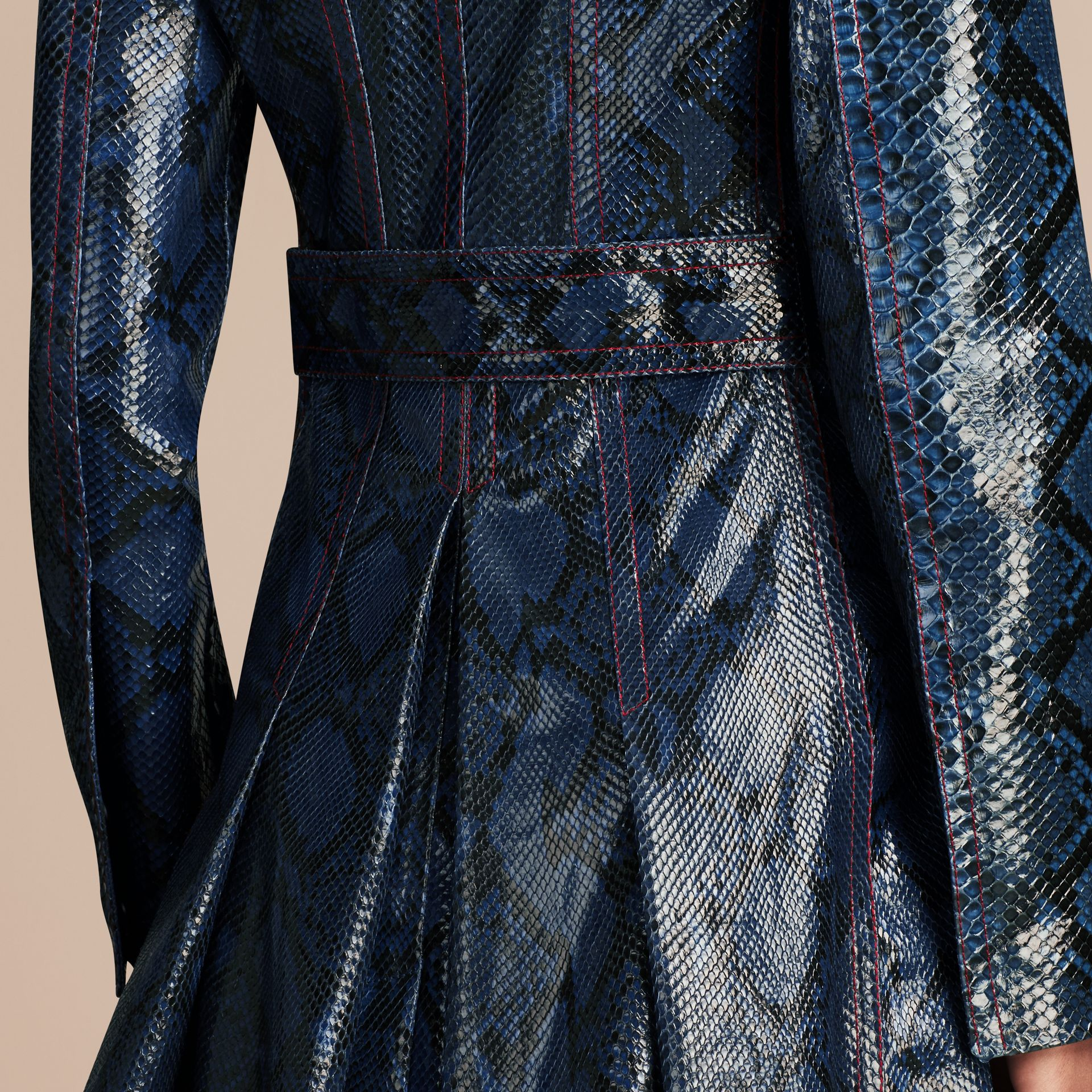 Mineral blue Regimental Glossy Python Coat - gallery image 6
