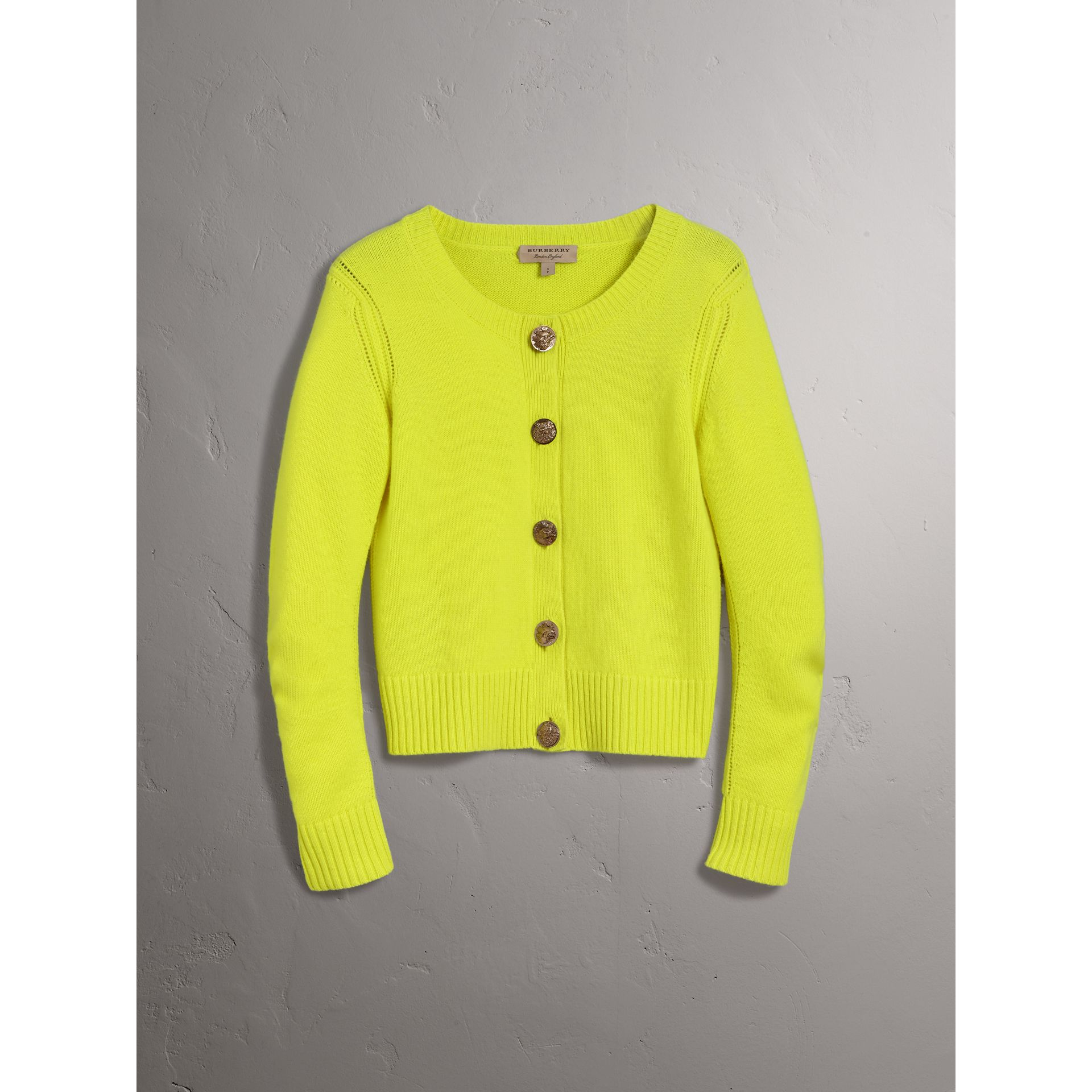 Bird Button Cashmere Cardigan in Bright Citrine - Women | Burberry - gallery image 3