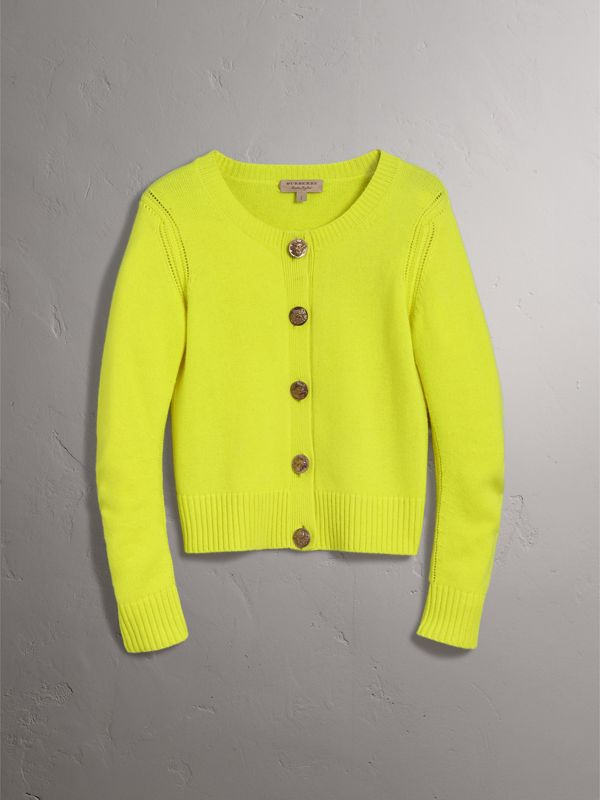 Bird Button Cashmere Cardigan in Bright Citrine | Burberry - cell image 3