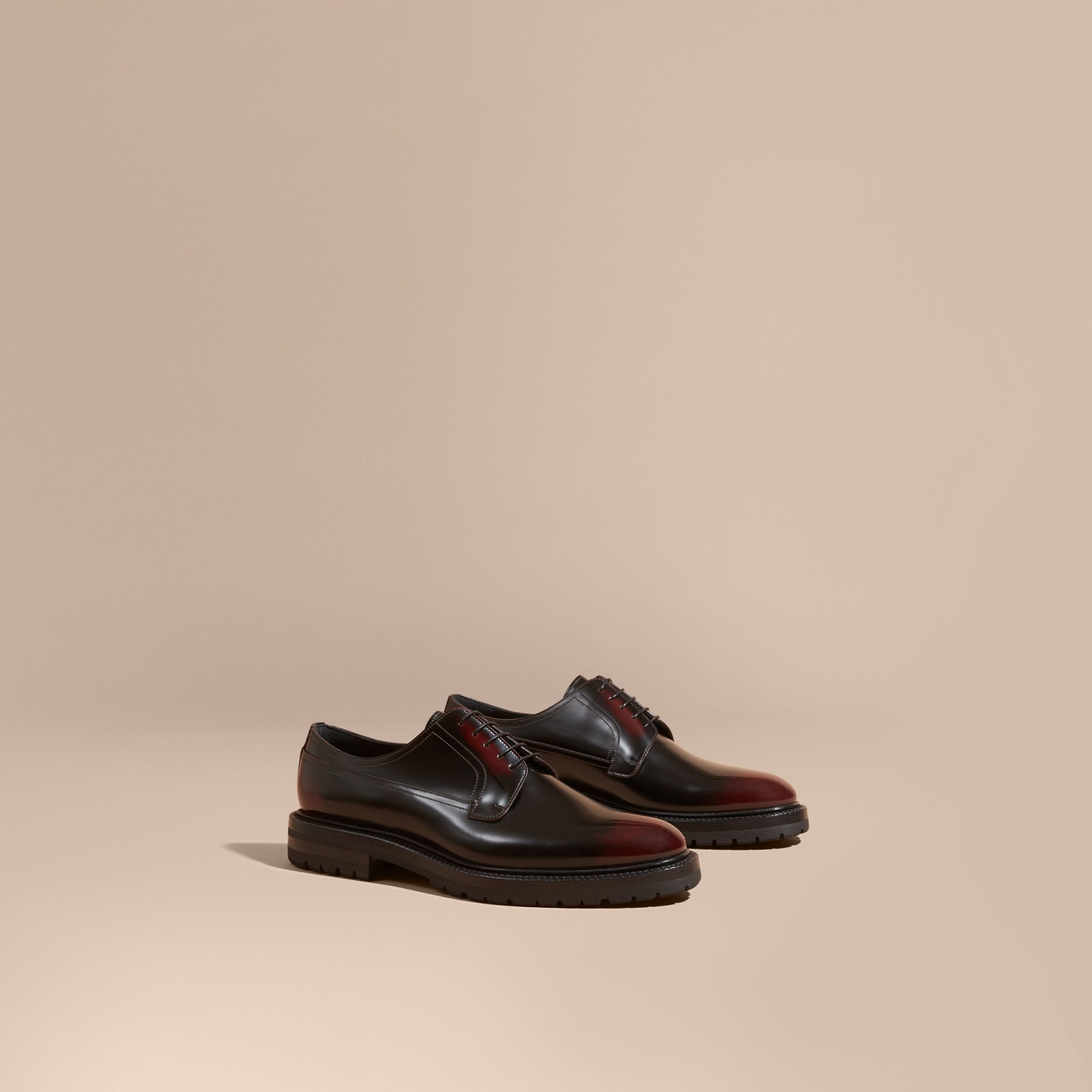Bordeaux Burnished Leather Derby Shoes Bordeaux - gallery image 1