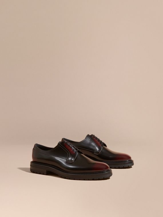 Burnished Leather Derby Shoes Bordeaux