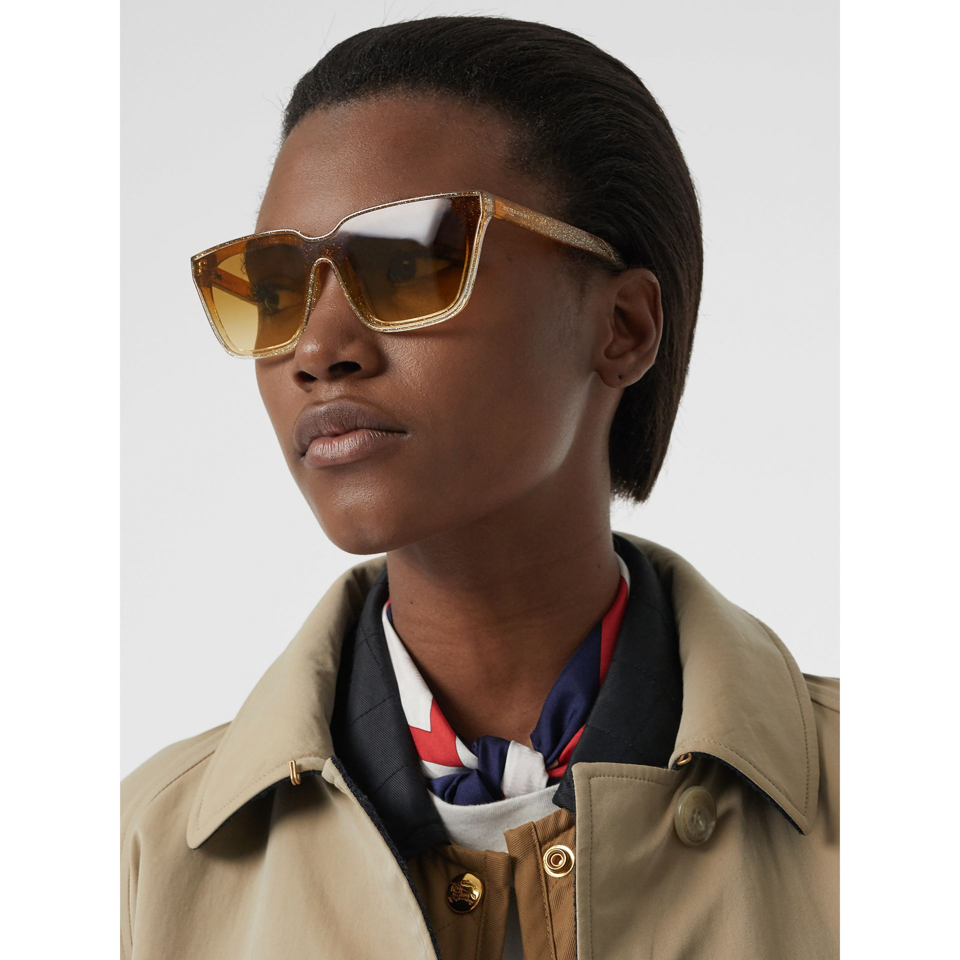 Glitter Detail Square Frame Shield Sunglasses in Yellow - Women | Burberry Canada - gallery image 2