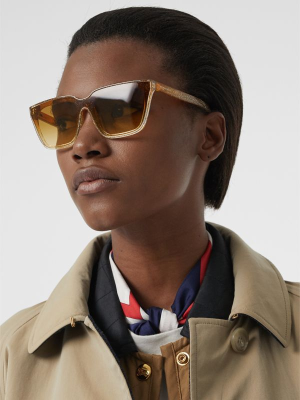 Glitter Detail Square Frame Shield Sunglasses in Yellow - Women | Burberry Australia - cell image 2