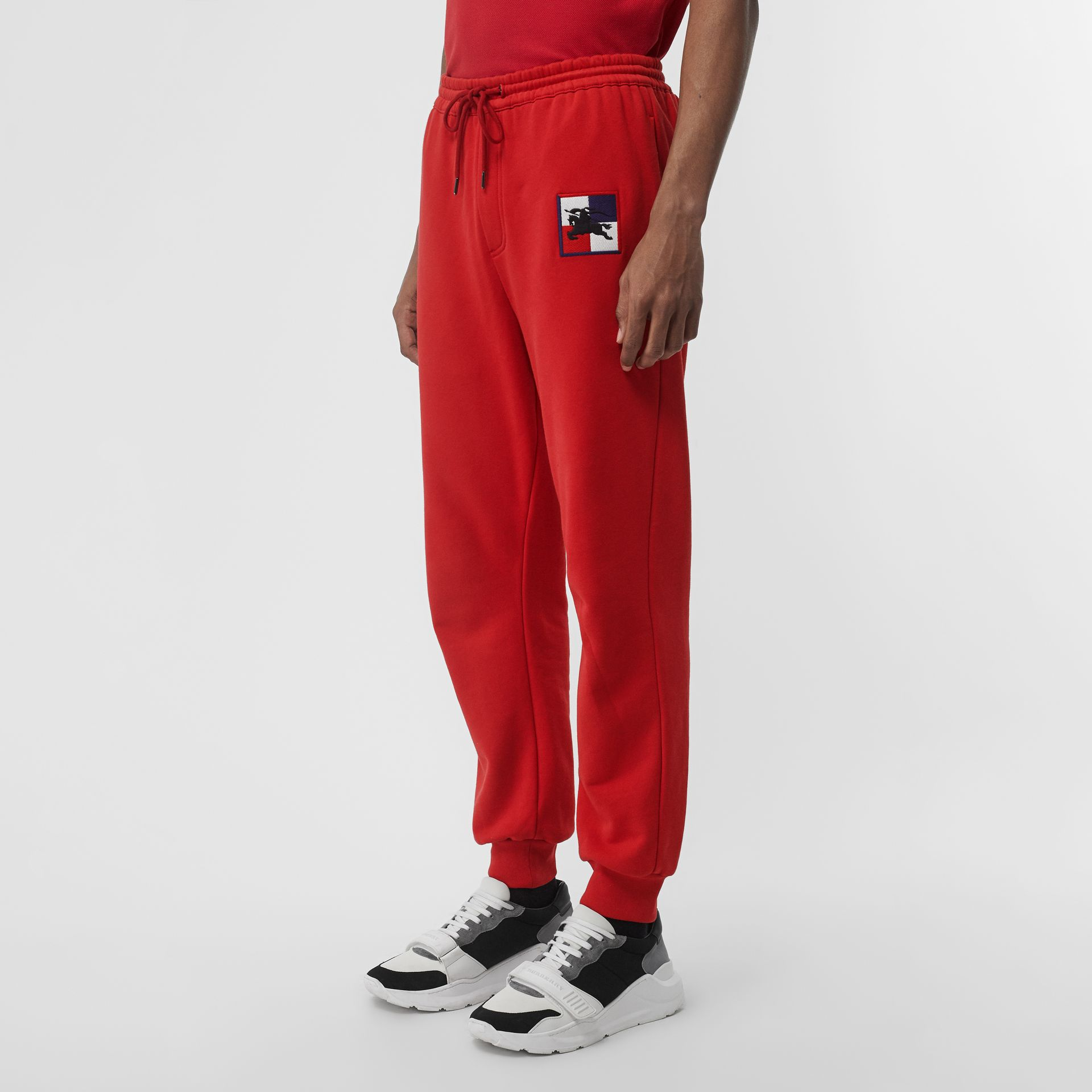 Chequer EKD Cotton Trackpants in Military Red - Men | Burberry United States - gallery image 4