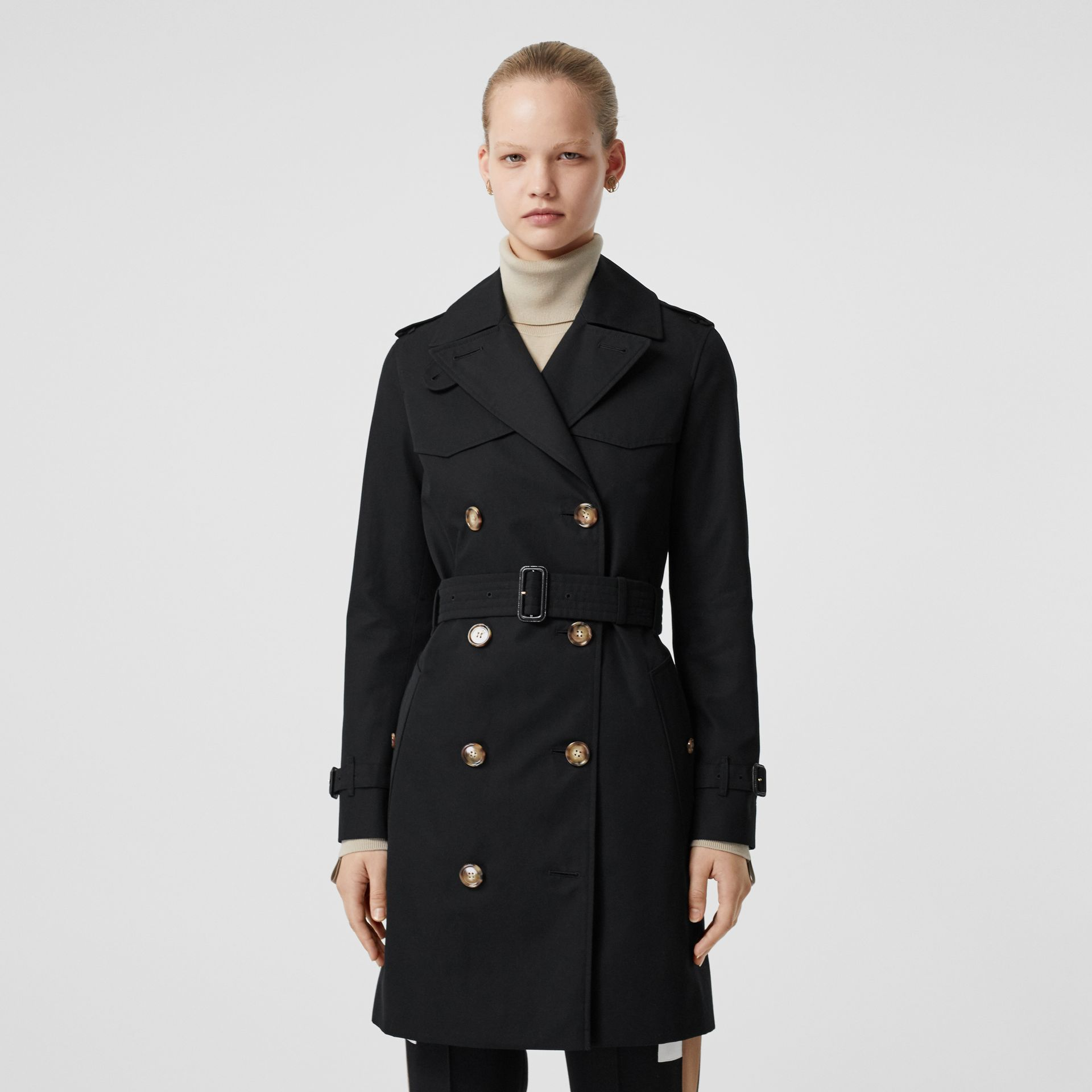 Cotton Gabardine Trench Coat in Black - Women | Burberry - gallery image 6