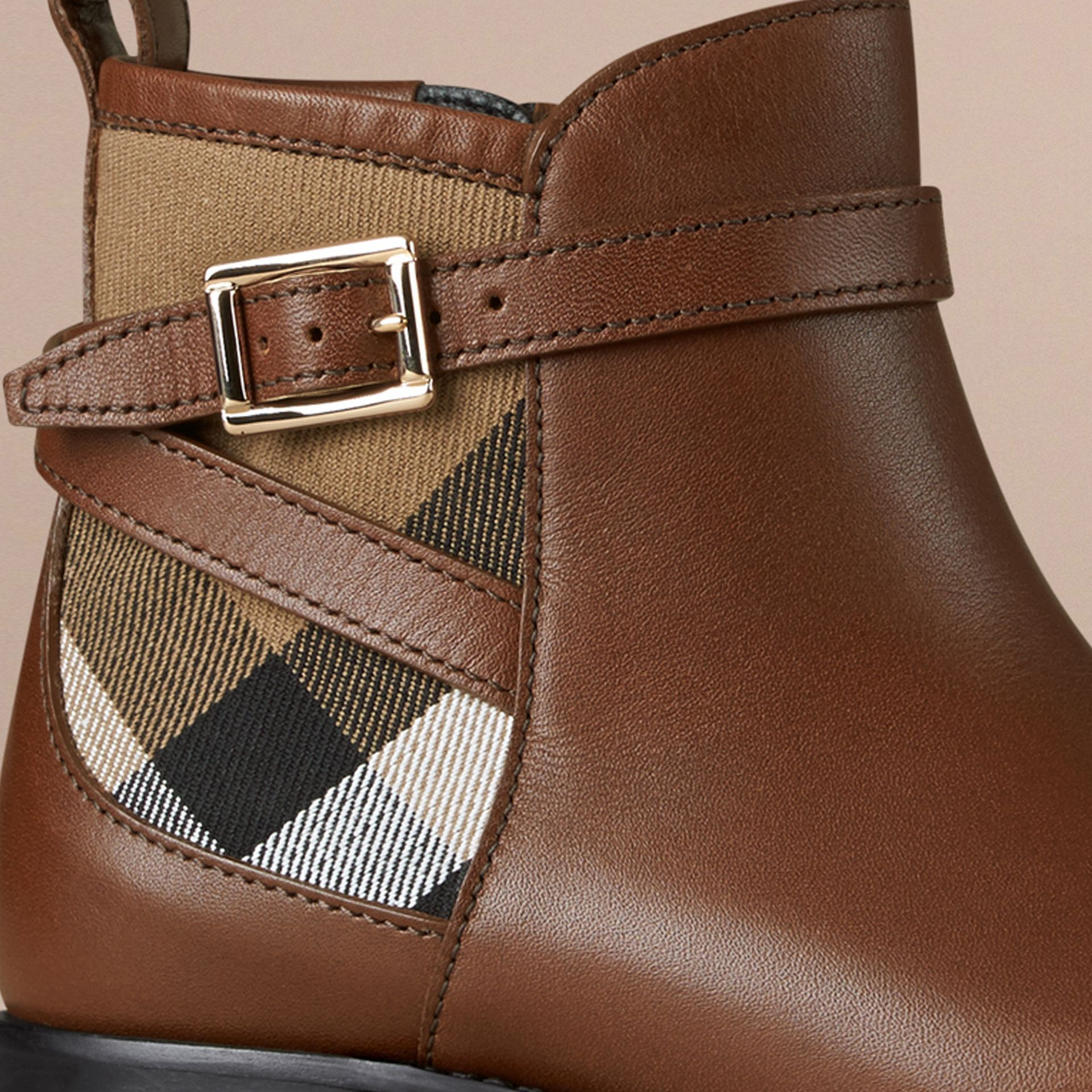 House Check Panel Leather Ankle Boots Chestnut - gallery image 2