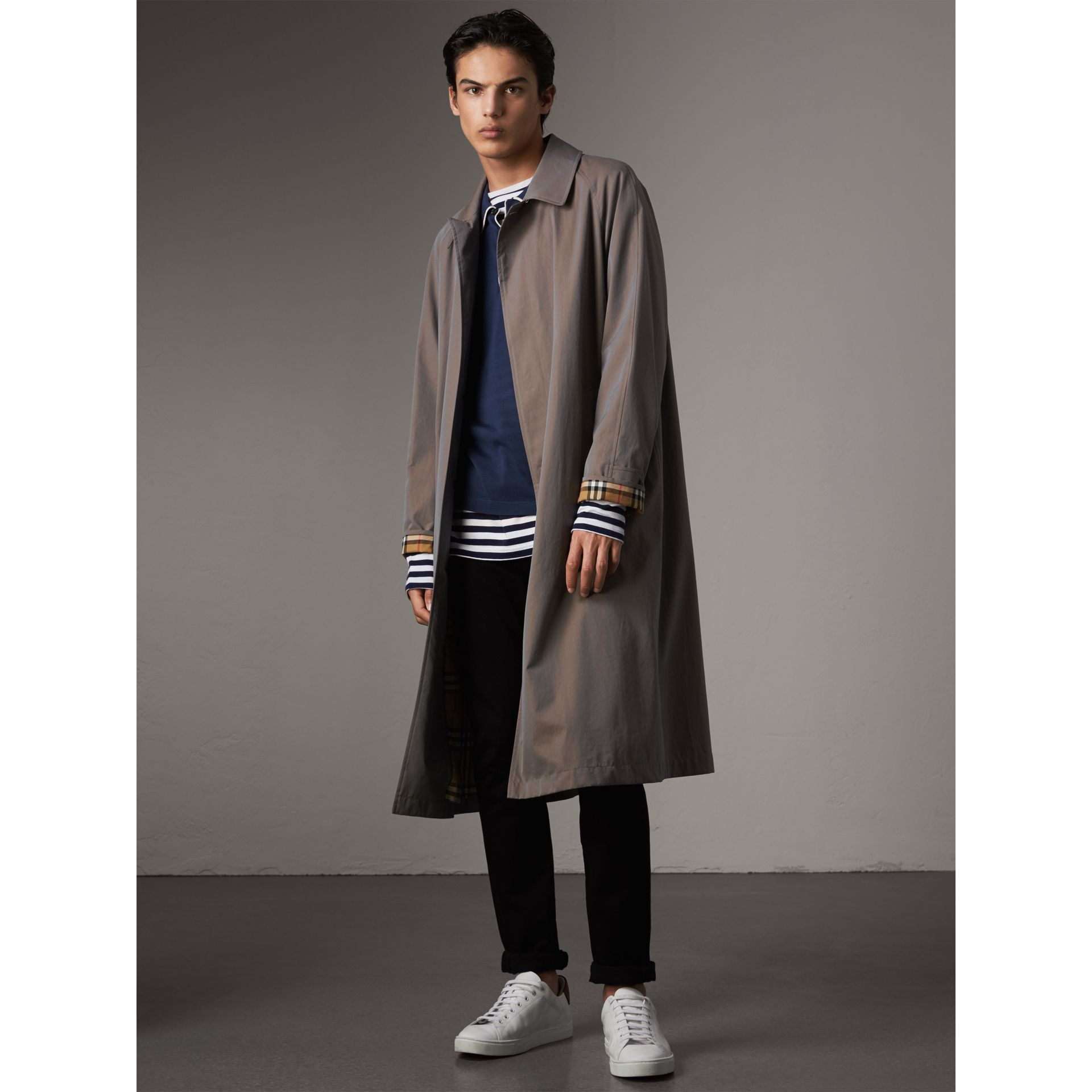 The Brighton – Longline Car Coat in Lilac Grey - Men | Burberry - gallery image 1