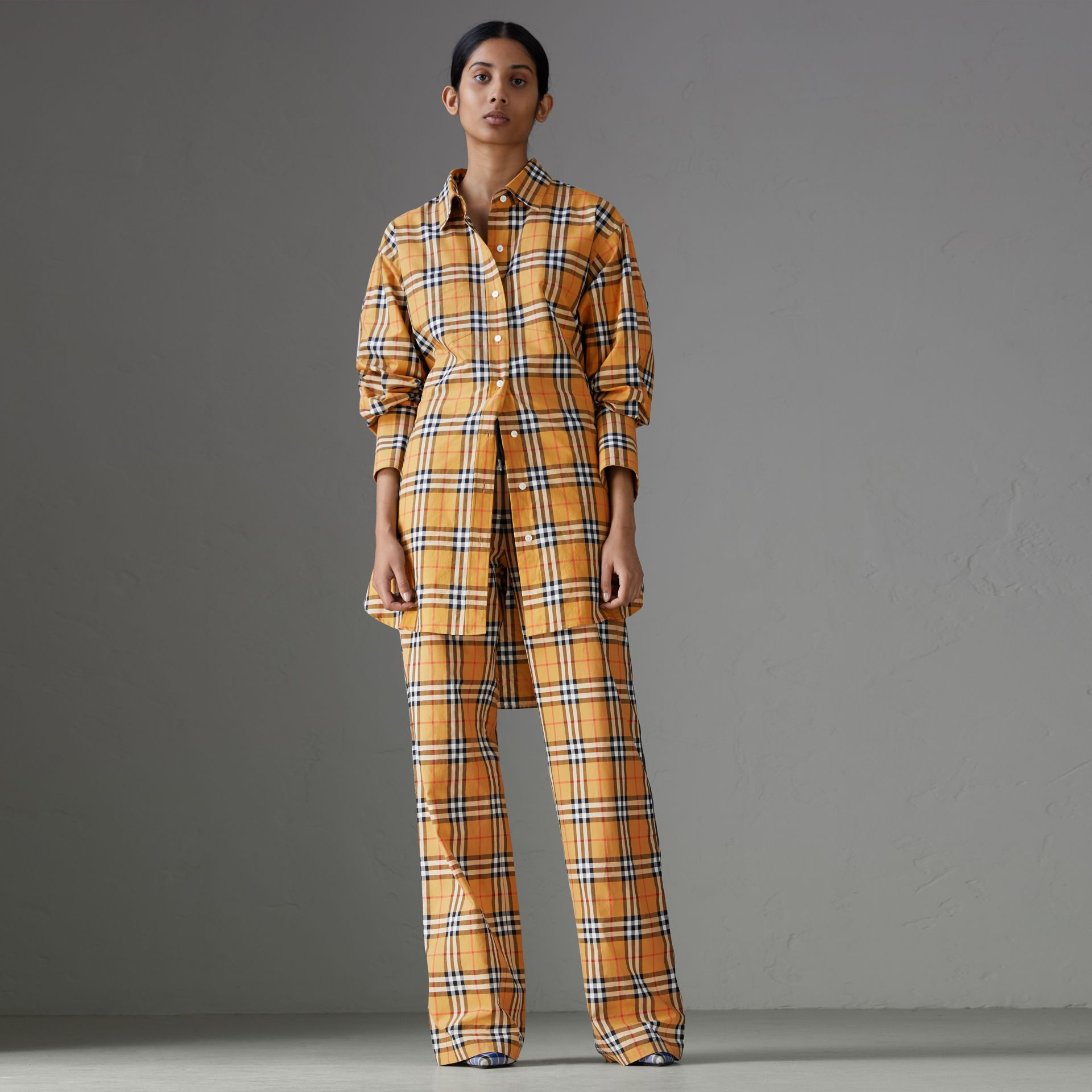 Vintage Check Drawcord Trousers in Antique Yellow - Women | Burberry - gallery image 0