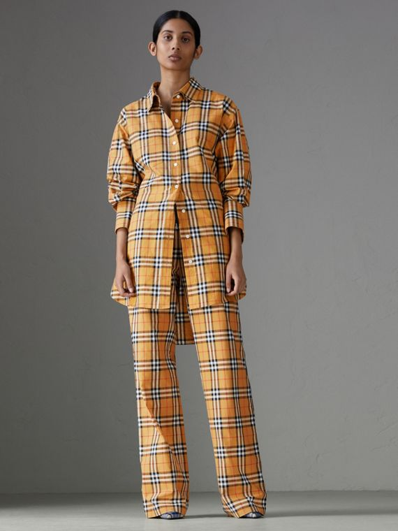 Calças em Vintage Check com cordão de ajuste (Amarelo Antigo)