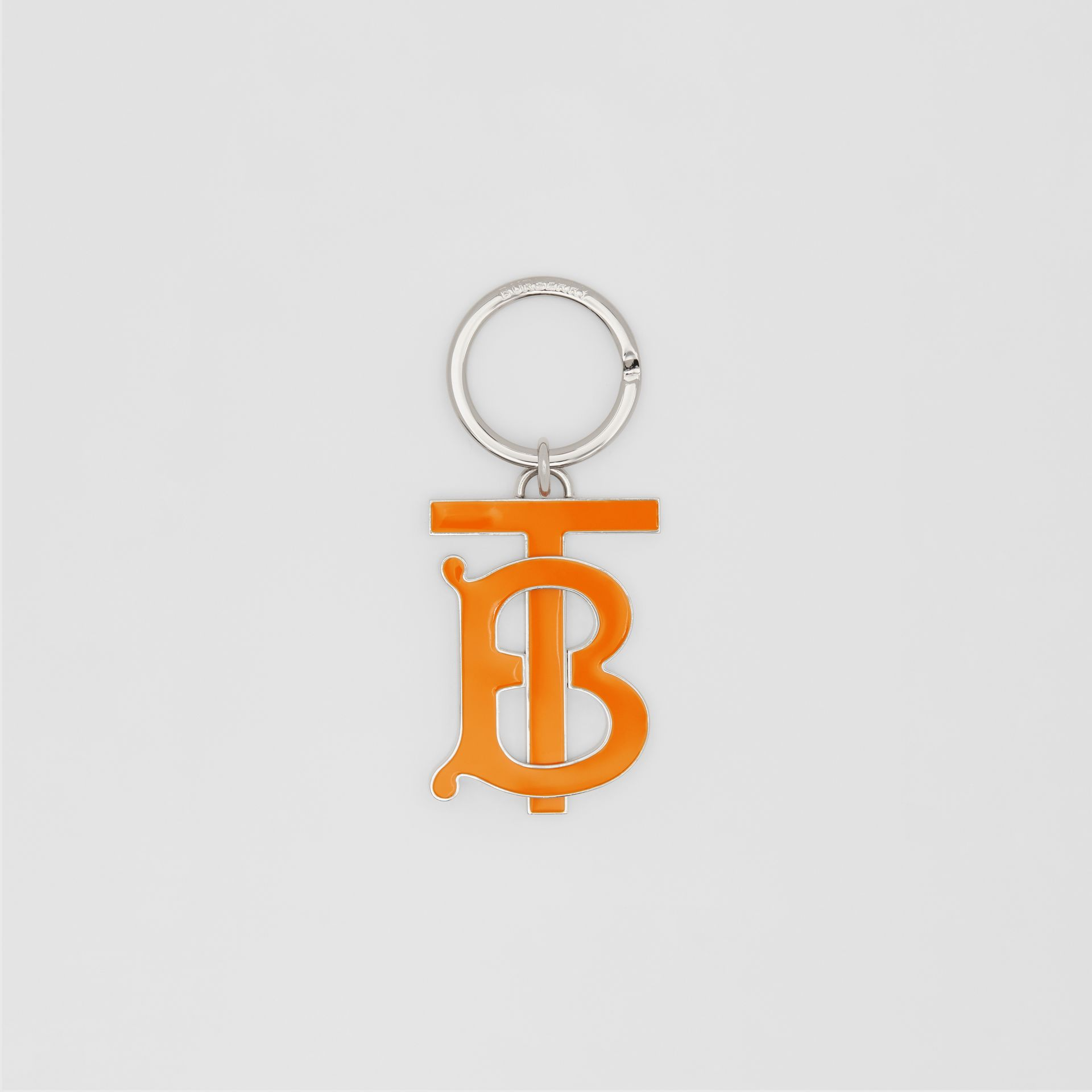 Monogram Motif Palladium-plated Key Ring in Bright Orange - Men | Burberry Singapore - gallery image 0