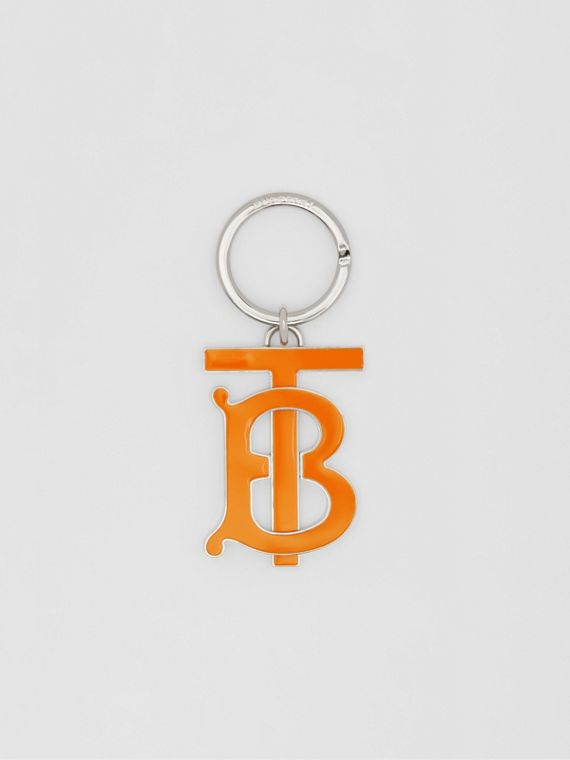 Porte-clés plaqué palladium Monogram (Orange Vif)
