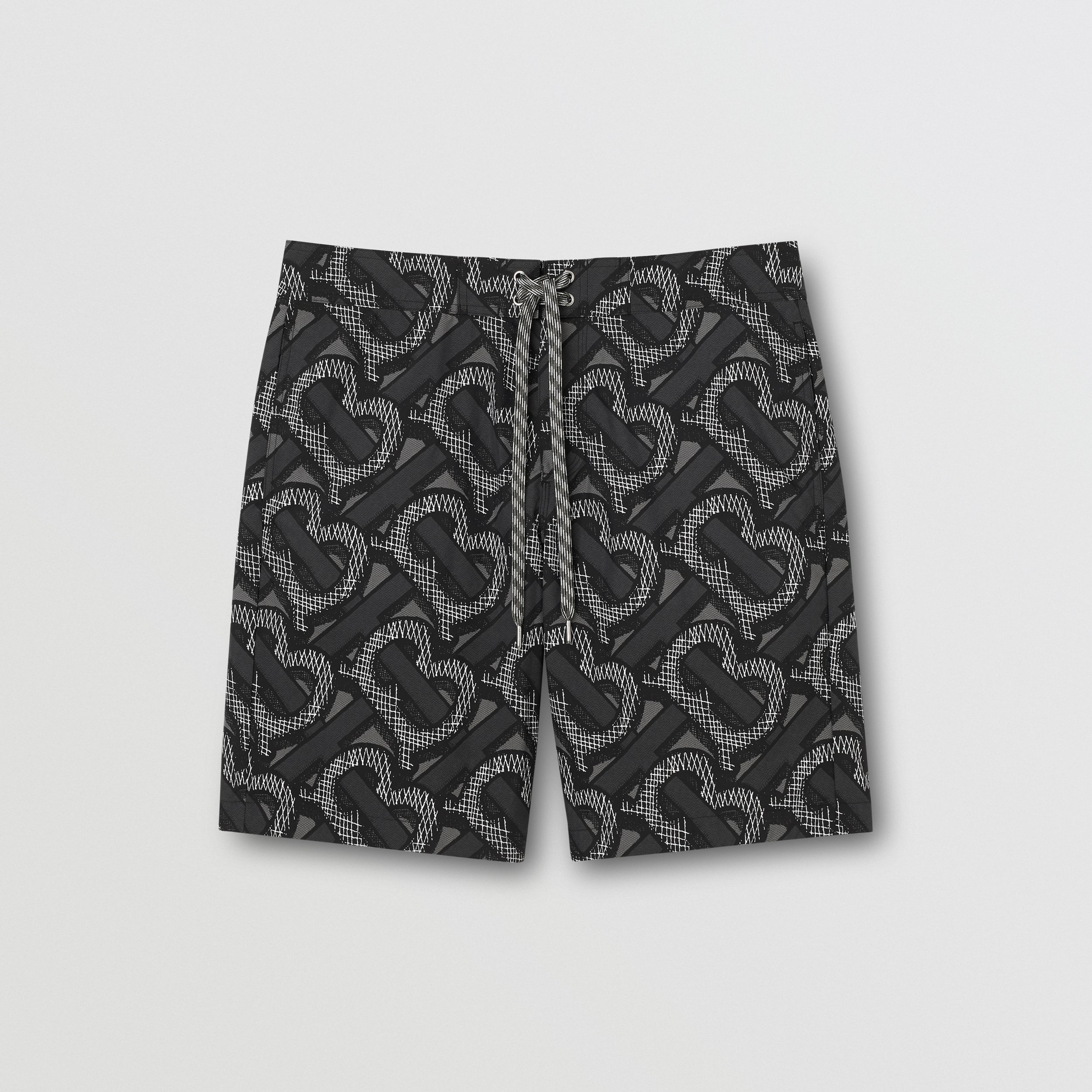 Monogram Print Swim Shorts in Graphite - Men | Burberry - 1