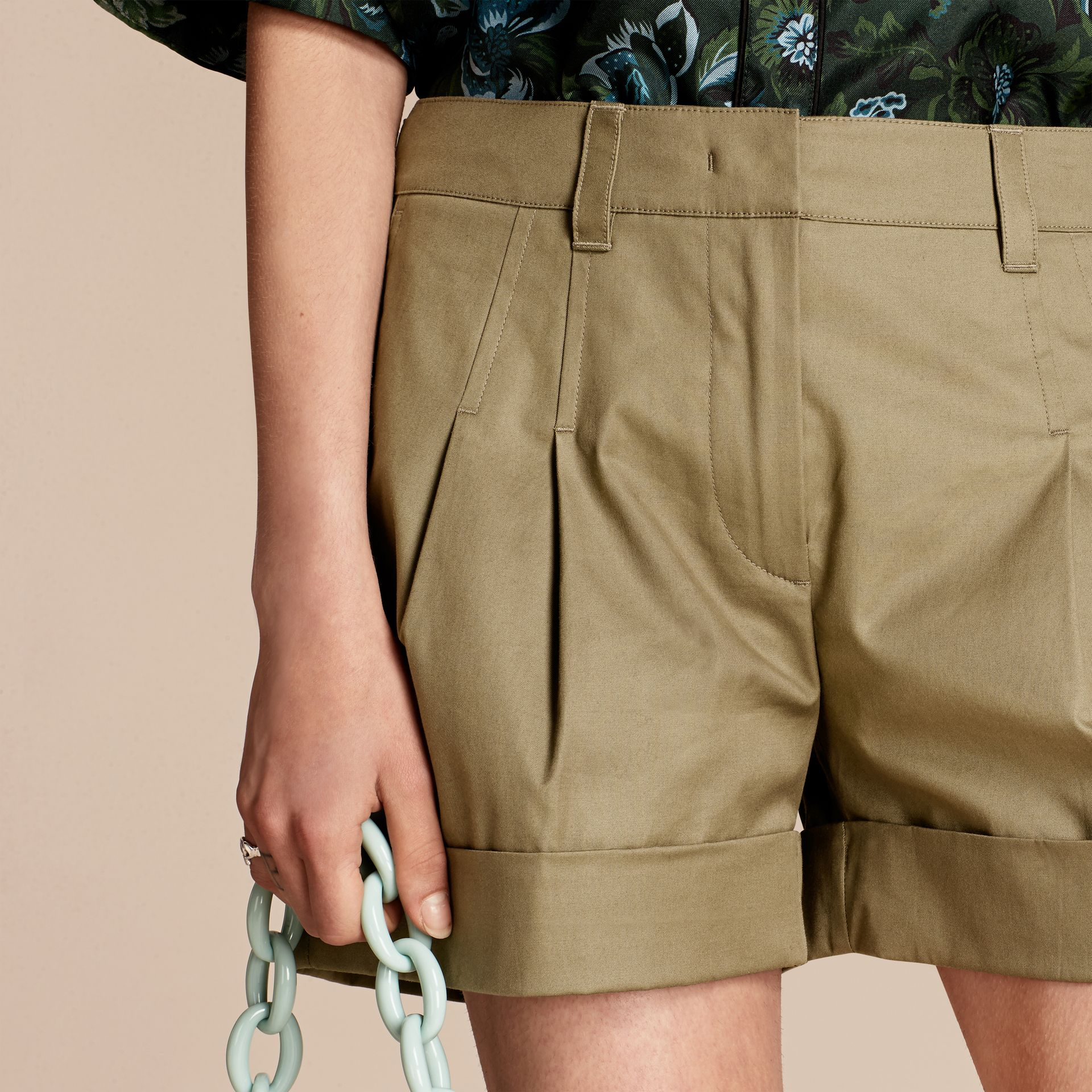 Sage Tailored Stretch Cotton Shorts - gallery image 5