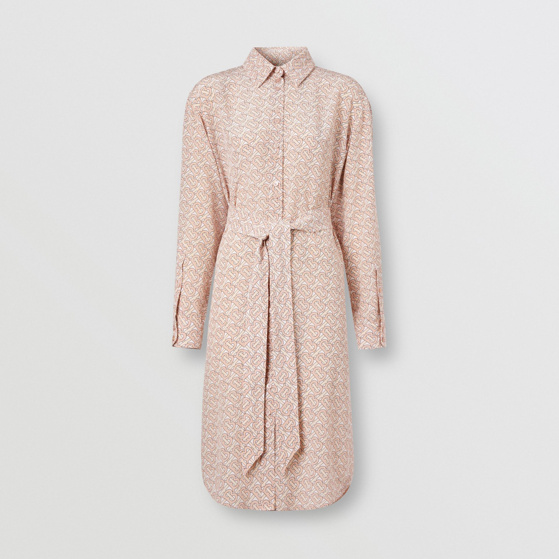 Monogram Print Silk Crepe De Chine Shirt Dress in Pale Copper Pink - Women | Burberry - gallery image 3