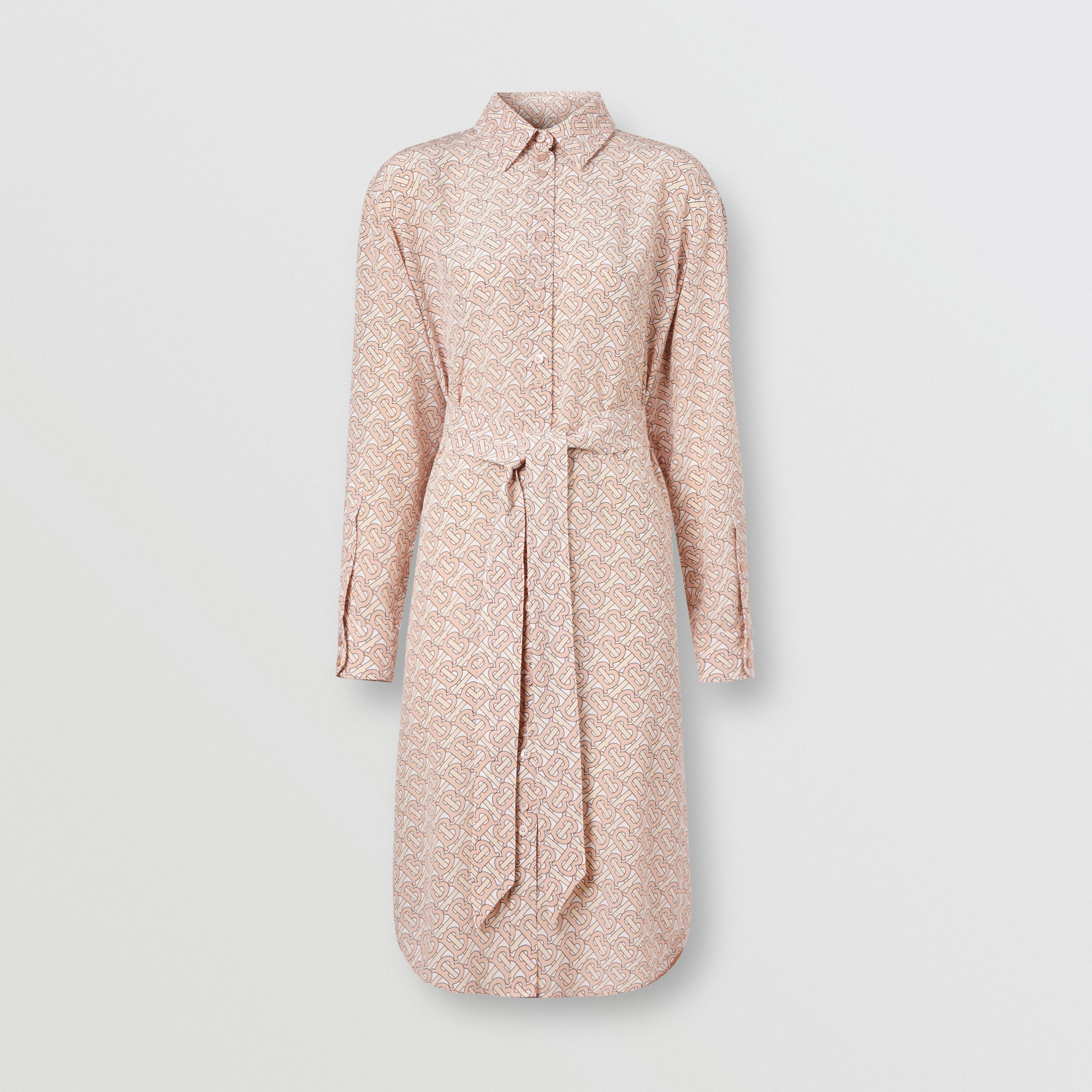 Monogram Print Silk Crepe De Chine Shirt Dress in Pale Copper Pink - Women | Burberry - 4