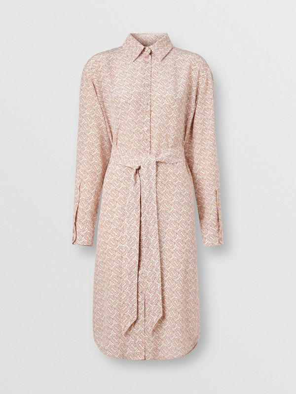 Monogram Print Silk Crepe De Chine Shirt Dress in Pale Copper Pink - Women | Burberry - cell image 3