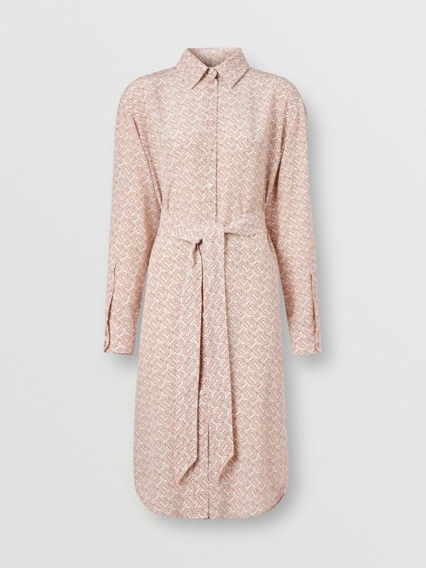 Monogram Print Silk Crepe De Chine Shirt Dress in Pale Copper Pink - Women | Burberry Hong Kong S.A.R - cell image 3