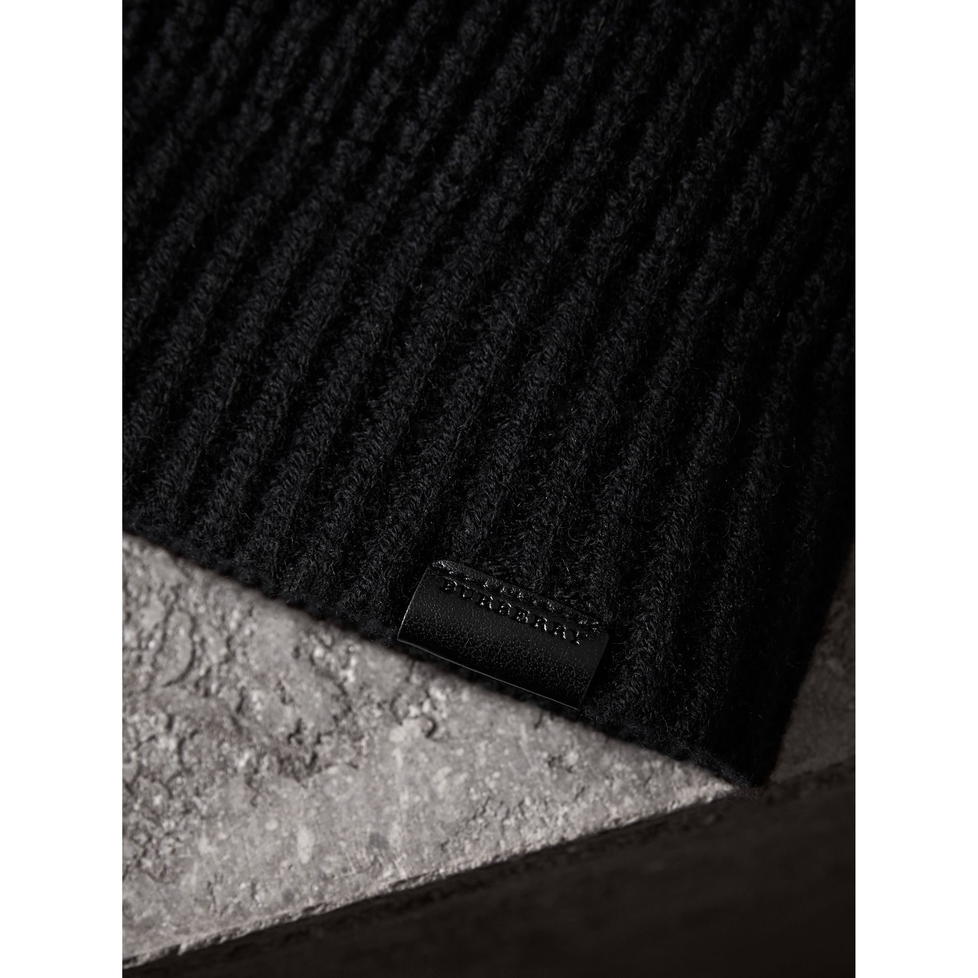 Cashmere Blend Waffle Knit Beanie in Black | Burberry - gallery image 1