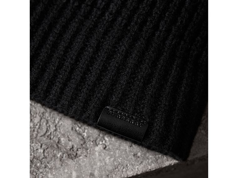 Cashmere Blend Waffle Knit Beanie in Black | Burberry - cell image 1