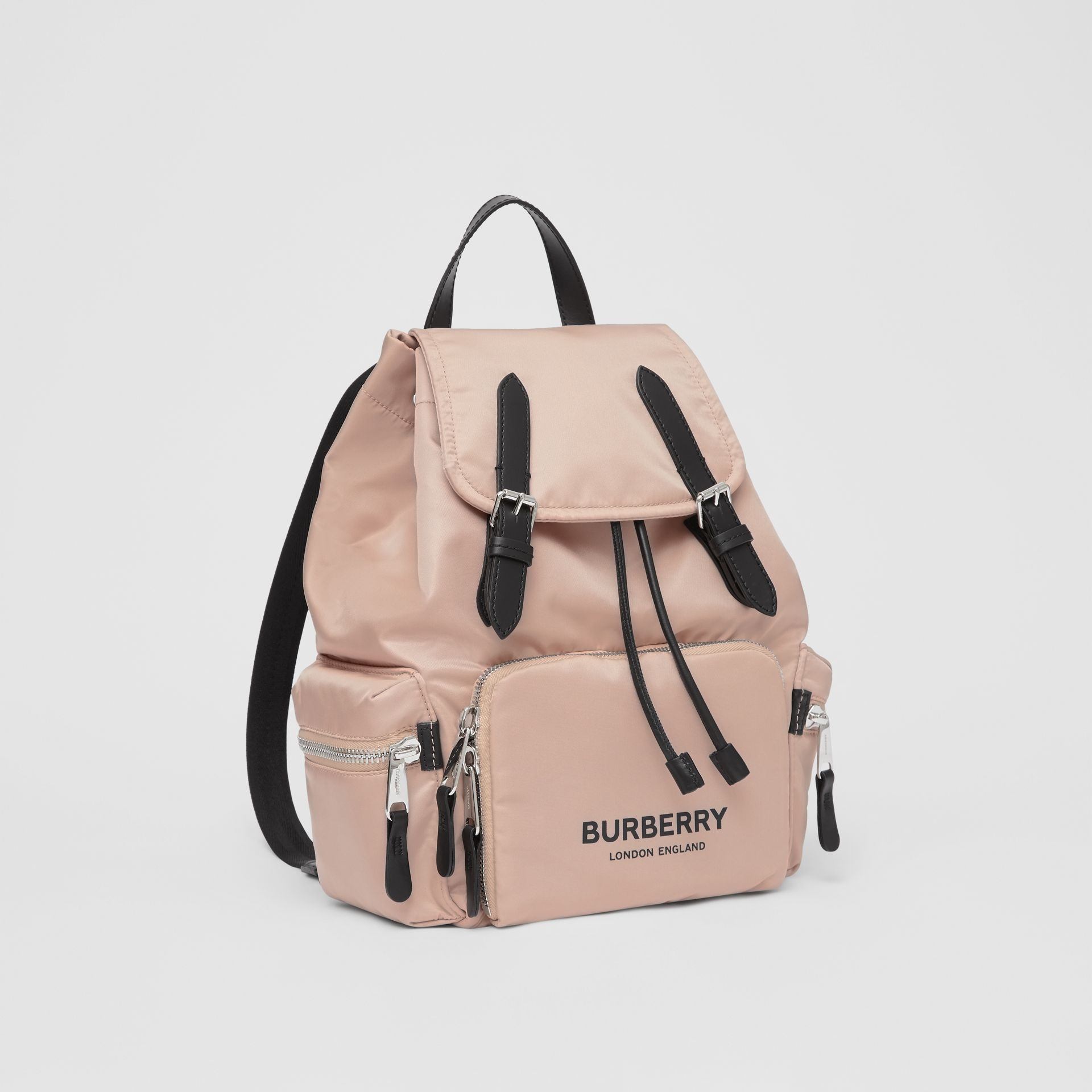 The Medium Rucksack in Logo Print ECONYL® in Rose Beige - Women | Burberry United Kingdom - gallery image 6