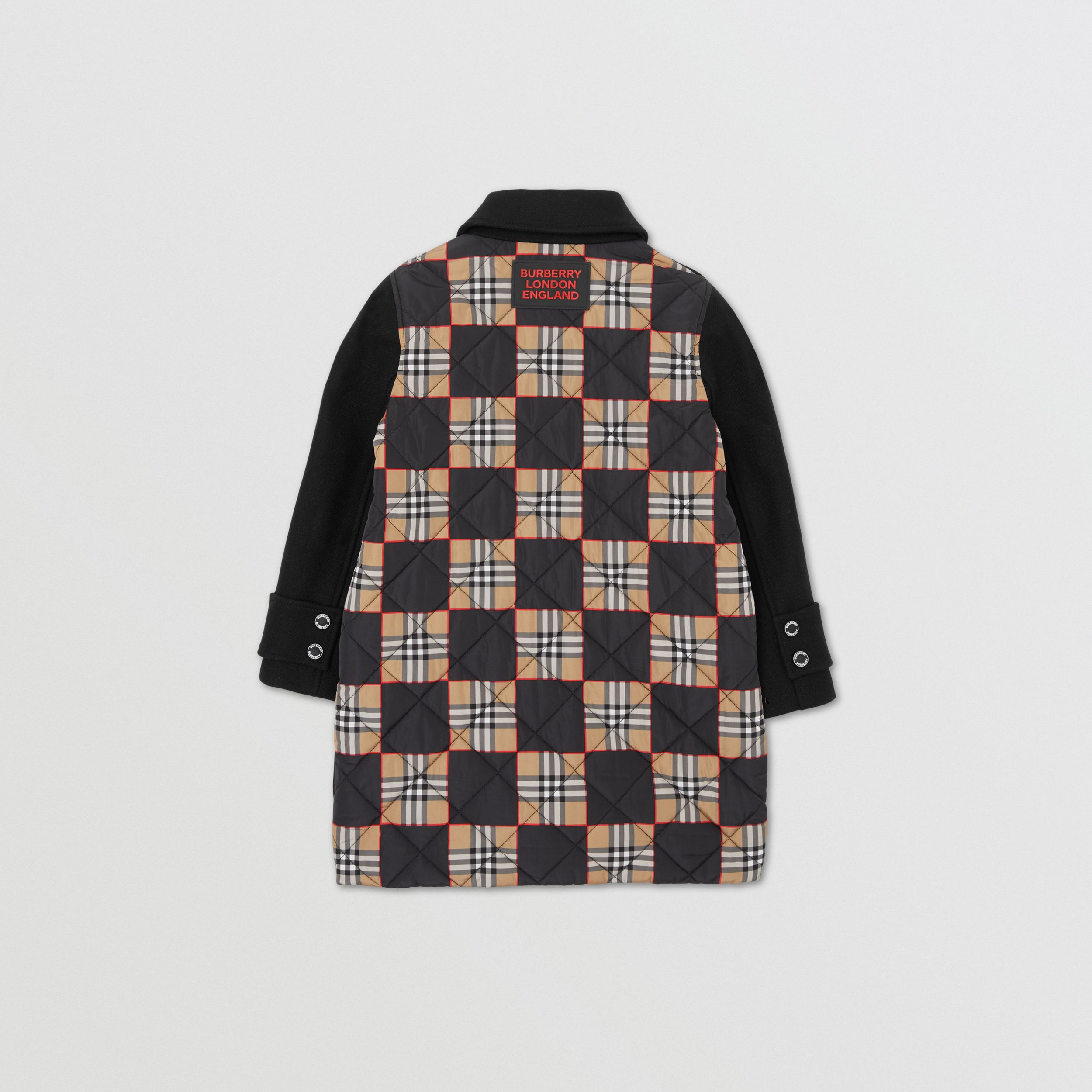 Chequer Print Panel Wool Blend Twill Coat in Black | Burberry - 4