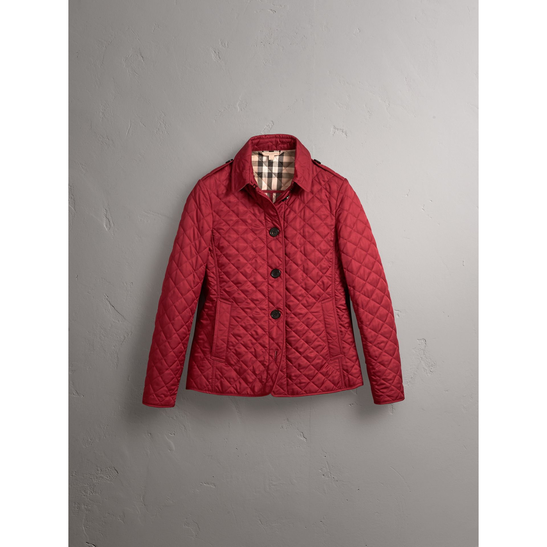 Diamond Quilted Jacket in Parade Red - Women | Burberry United Kingdom - gallery image 3