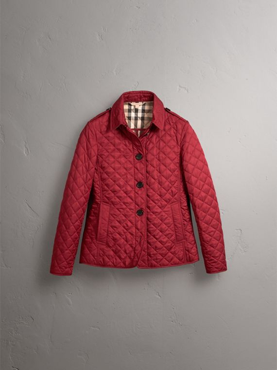 Diamond Quilted Jacket in Parade Red - Women | Burberry United States - cell image 3