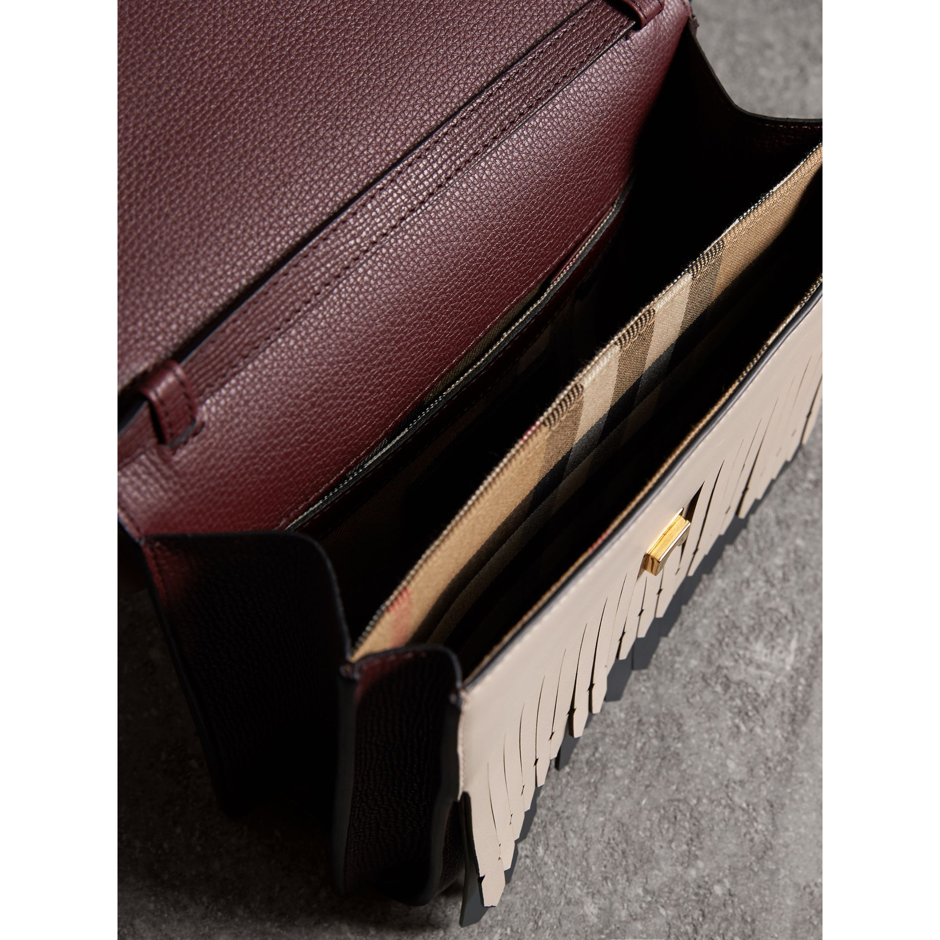 Brogue and Fringe Detail Leather Crossbody Bag in Mahogany Red - Women | Burberry Singapore - gallery image 4